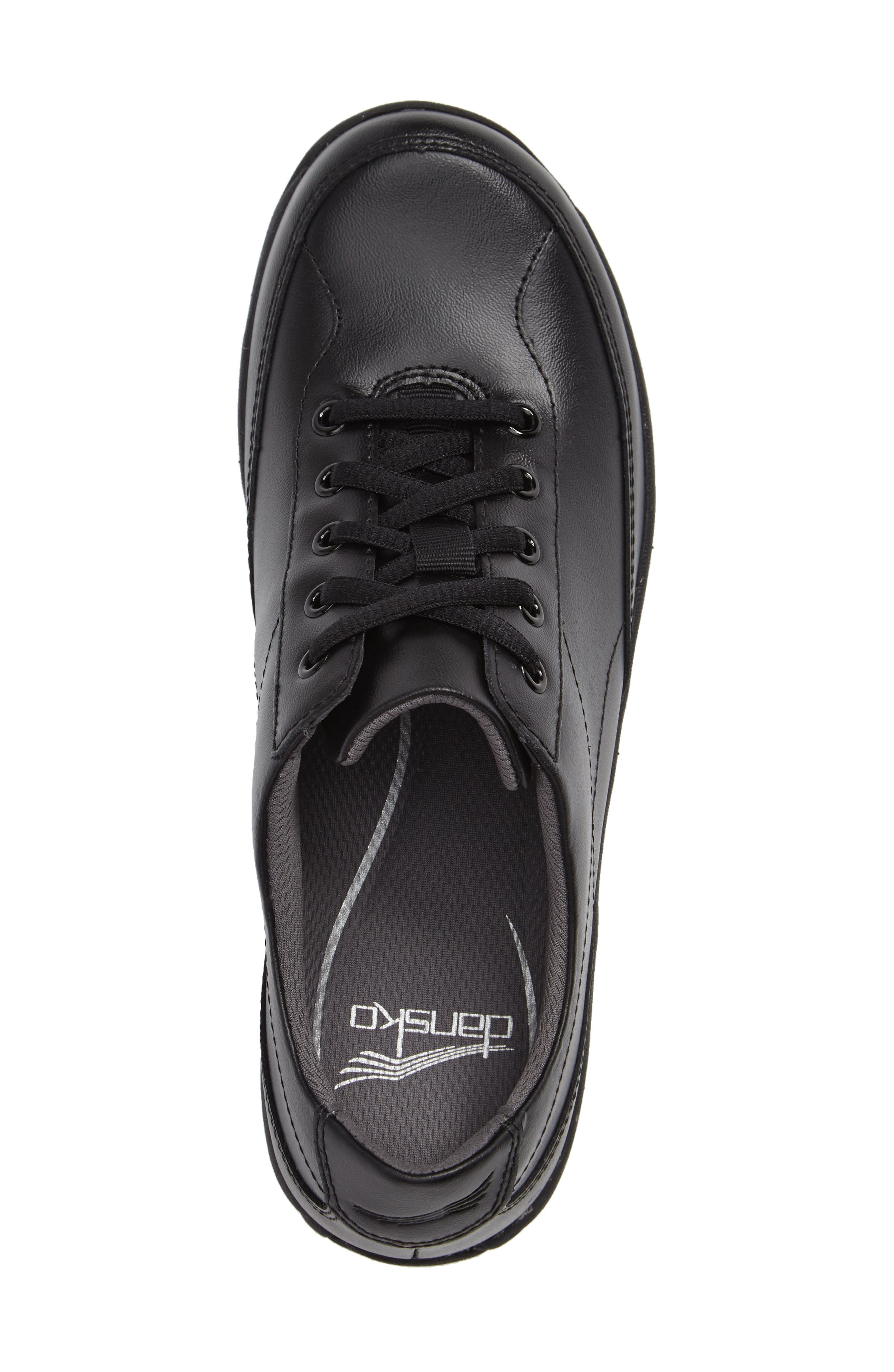 Emma Lace-Up Sneaker,                             Alternate thumbnail 3, color,                             BLACK LEATHER