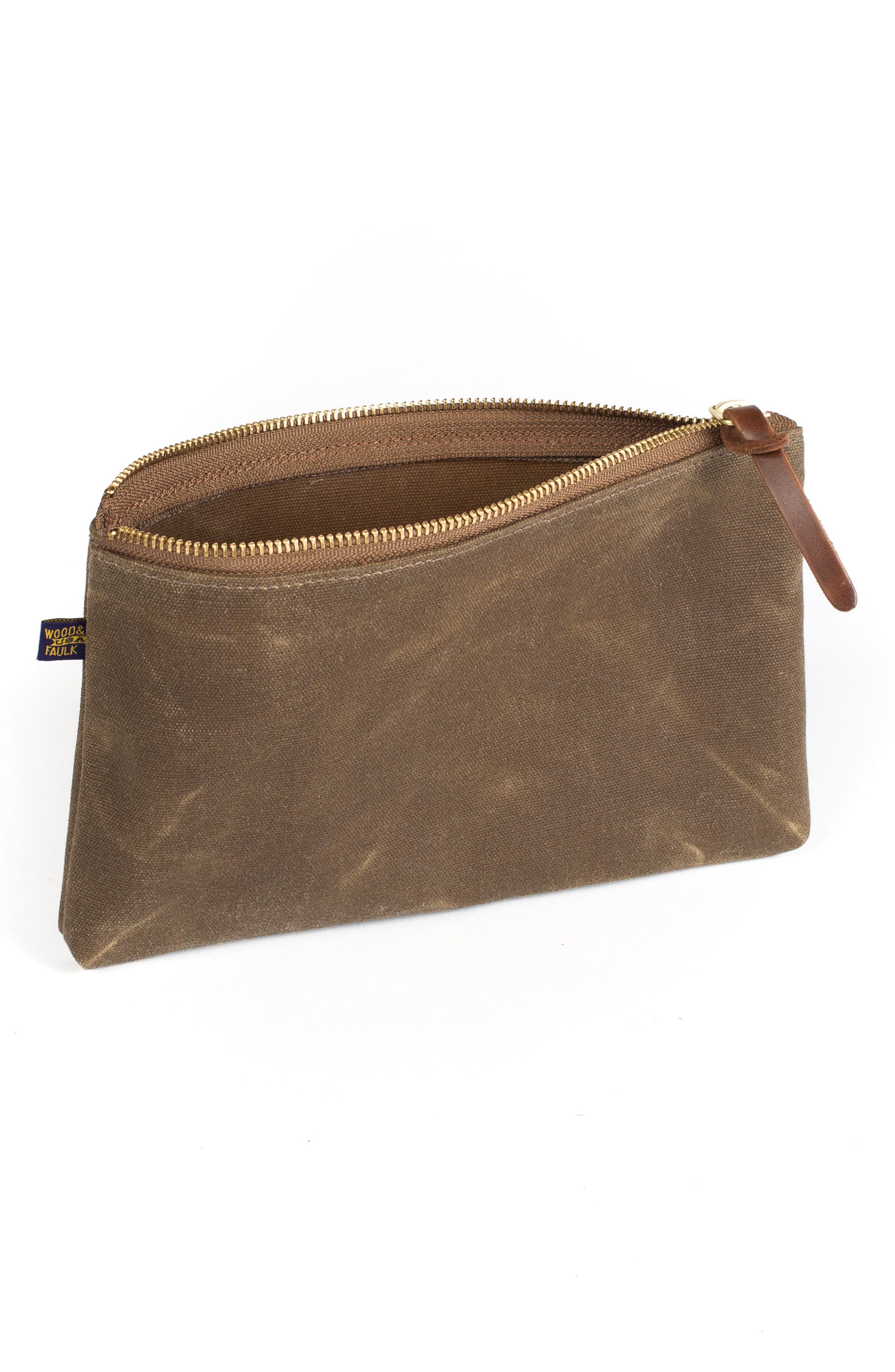 Waxed Canvas Zip Pouch,                             Alternate thumbnail 4, color,