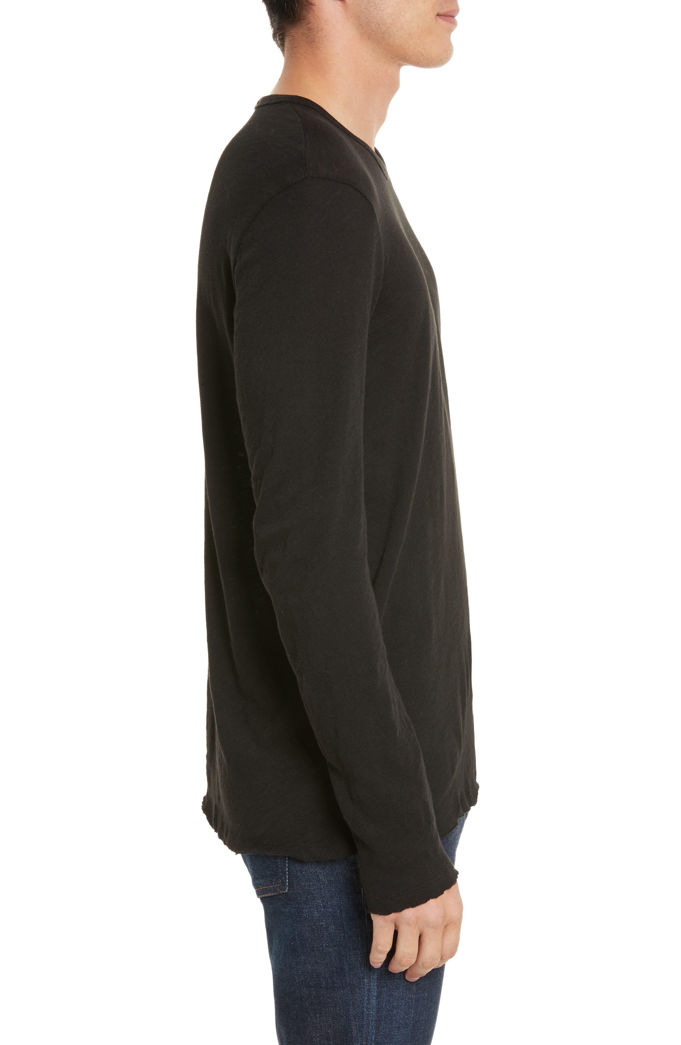 Destroyed Long Sleeve T-Shirt,                             Alternate thumbnail 3, color,                             BLACK