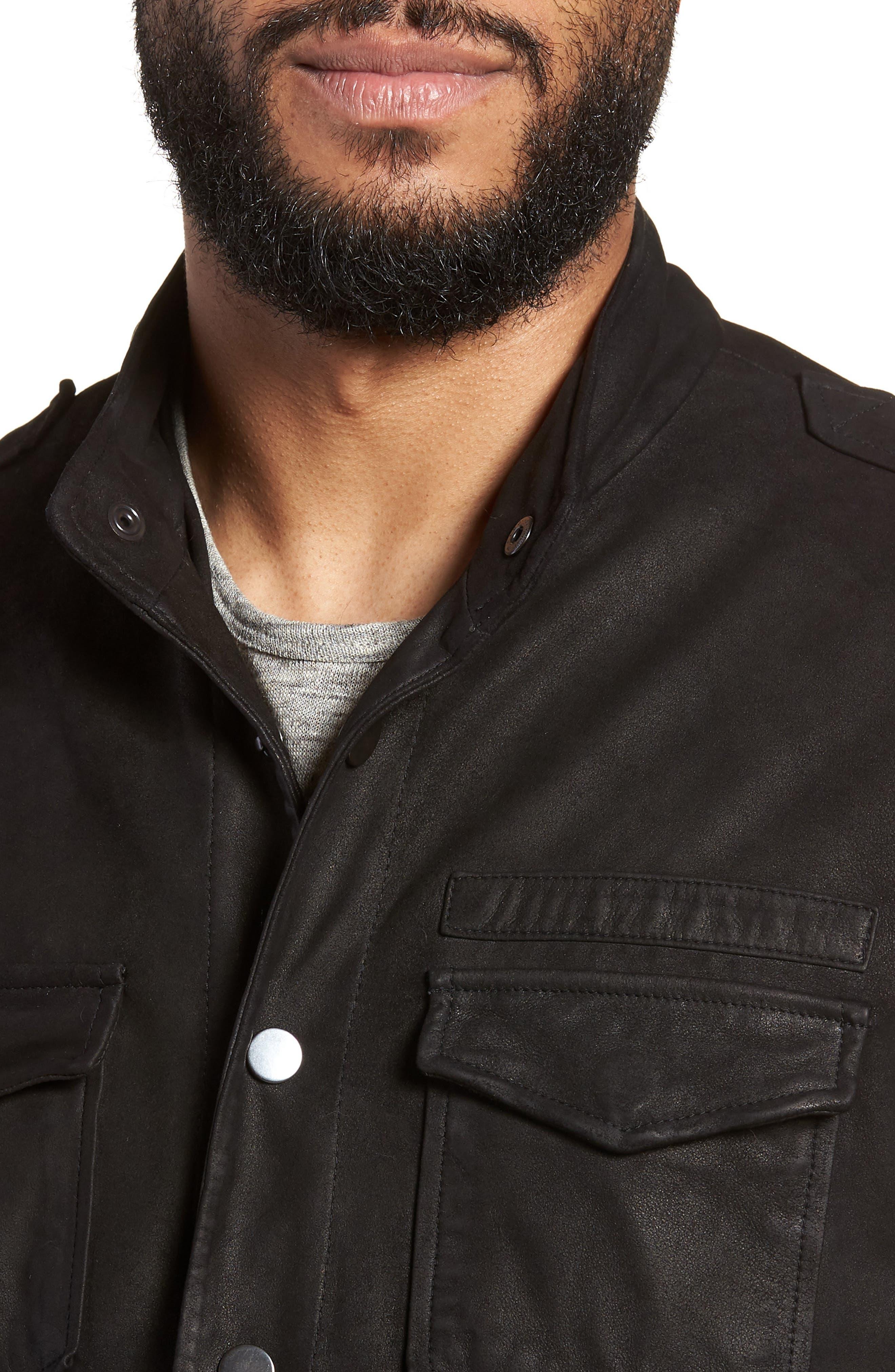 John Varvatos x Nick Jonas Suede Shirt Jacket,                             Alternate thumbnail 4, color,                             BLACK