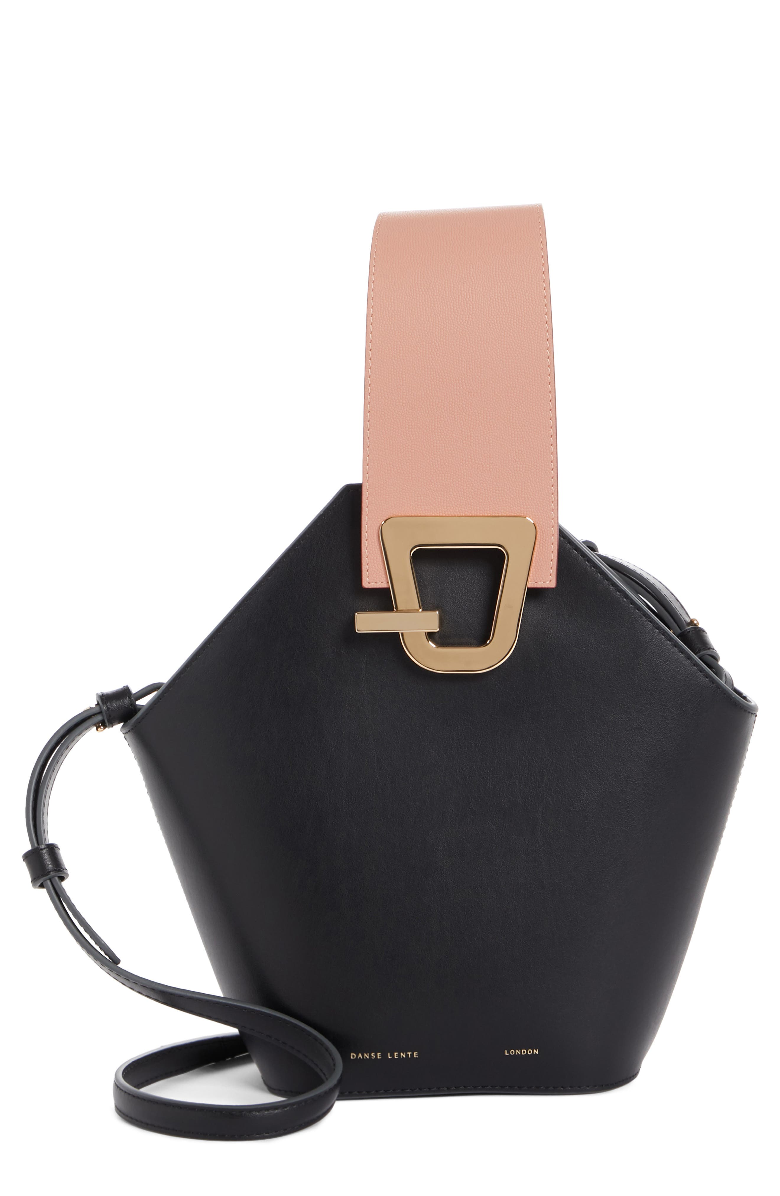 Johnny Leather Bucket Bag,                         Main,                         color, BLACK/ BLUSH