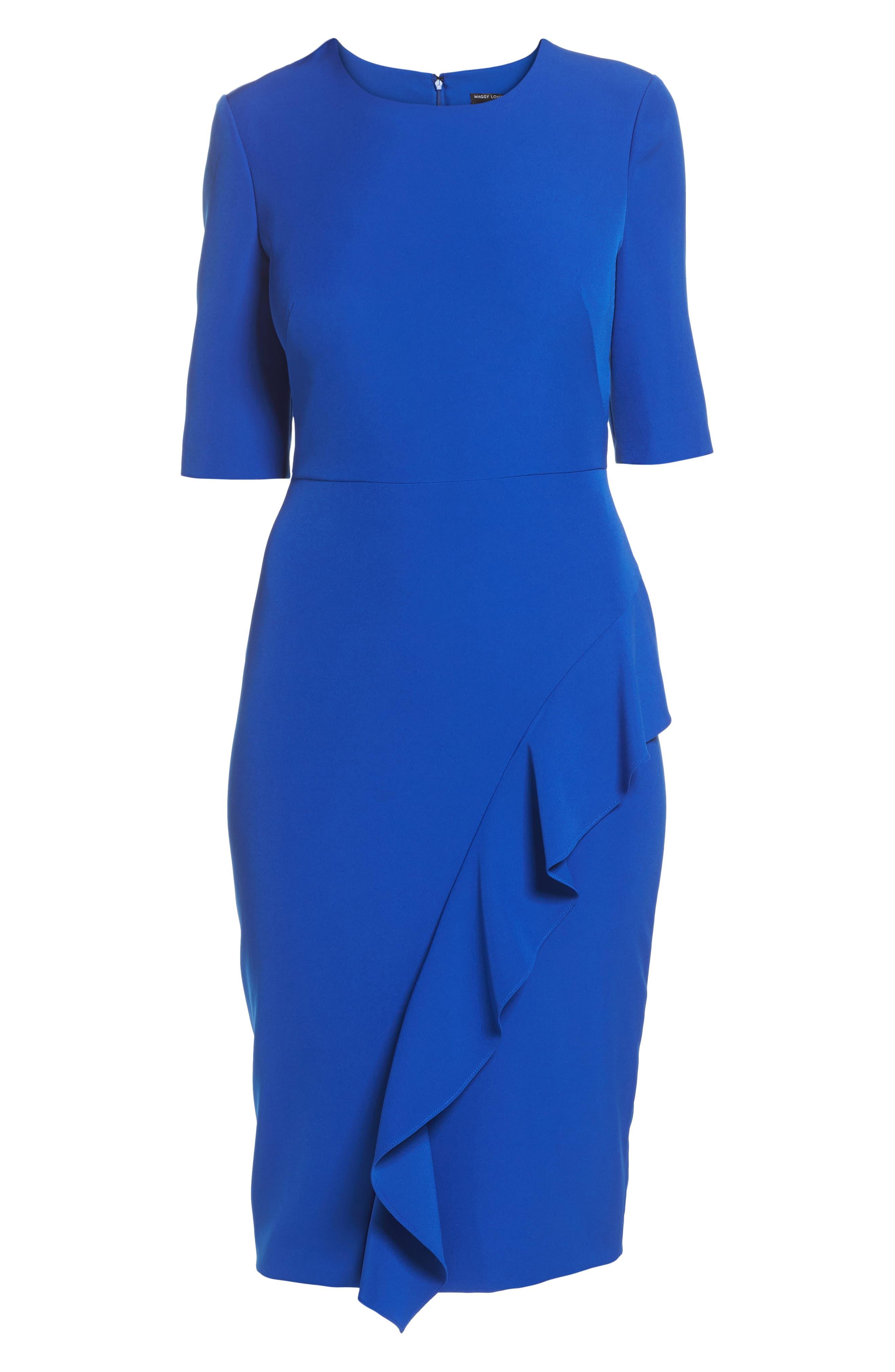 Ruffle Crepe Sheath Dress,                             Alternate thumbnail 6, color,                             401