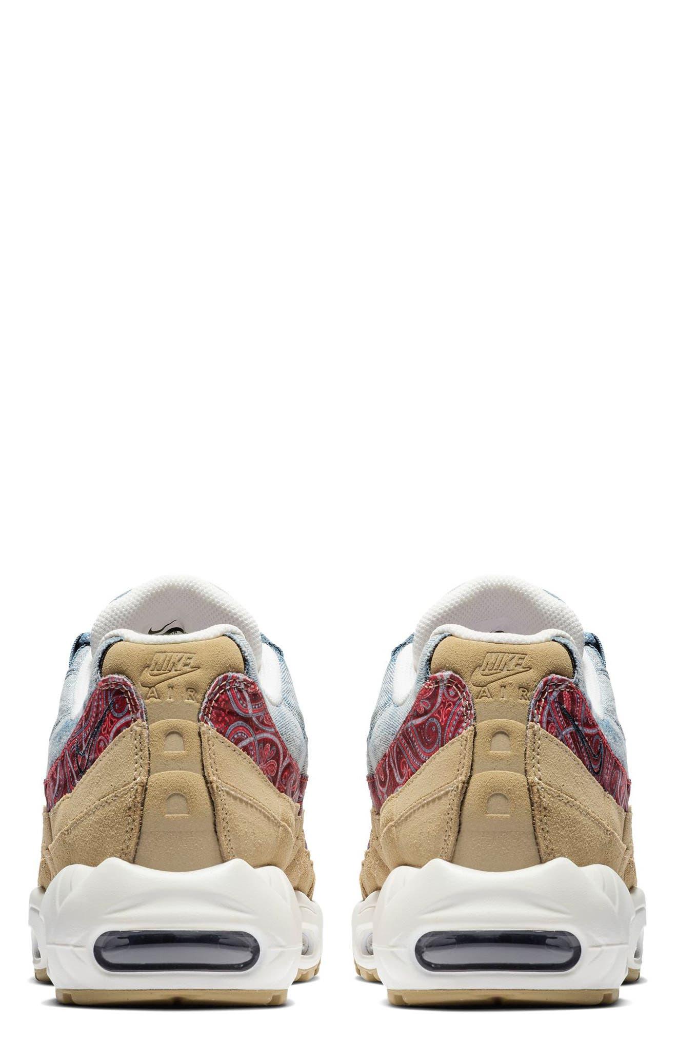 Air Max 95 Sneaker,                             Alternate thumbnail 2, color,                             PARACHUTE BEIGE/ RED