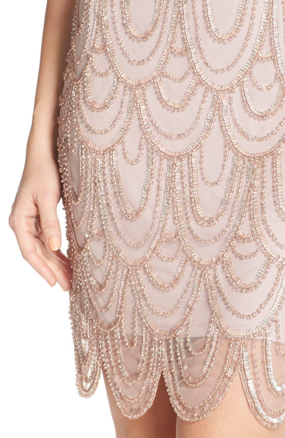 Embellished Mesh Sheath Dress,                             Alternate thumbnail 87, color,