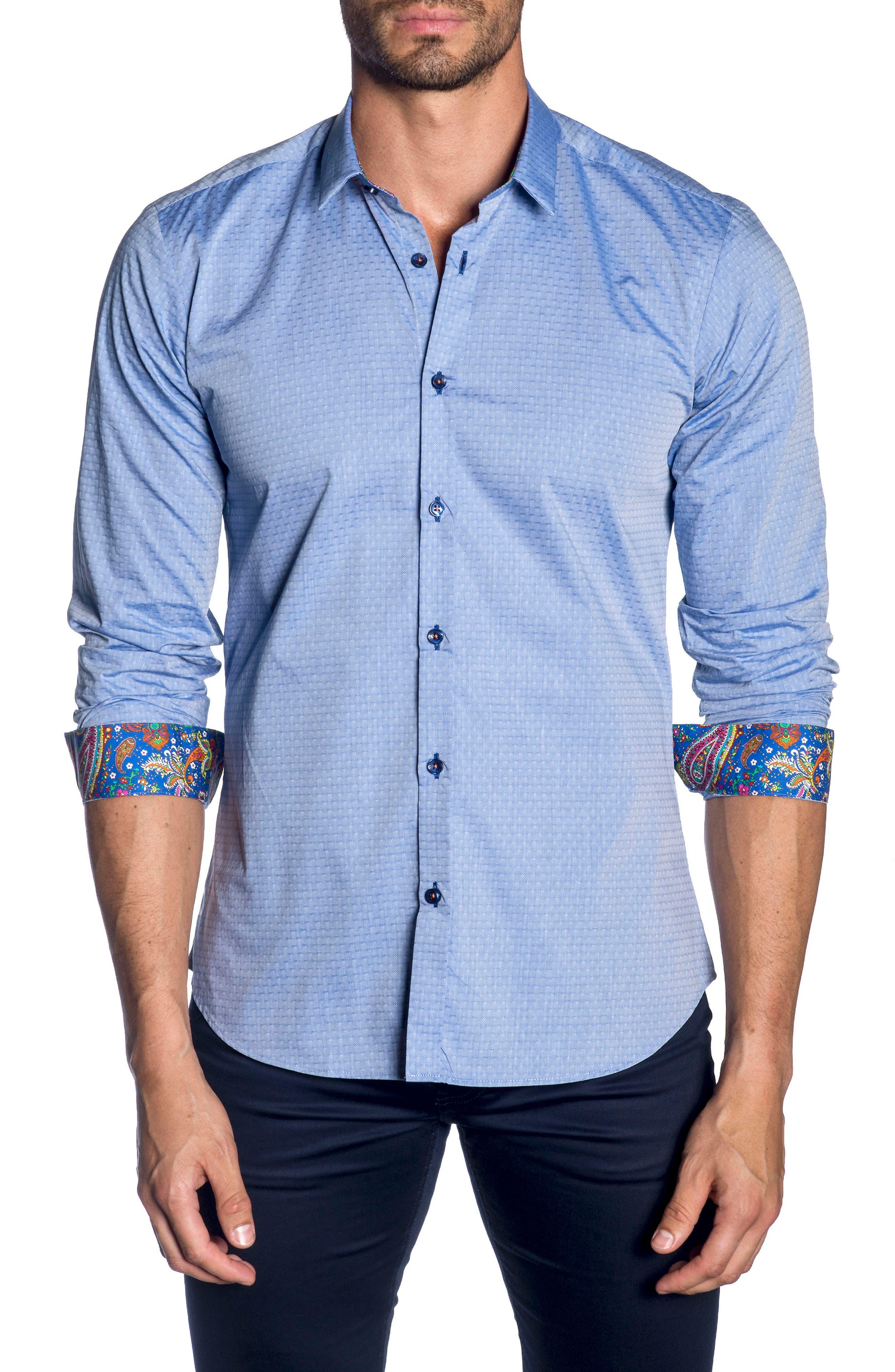JARED LANG Trim Fit Sport Shirt, Main, color, 439
