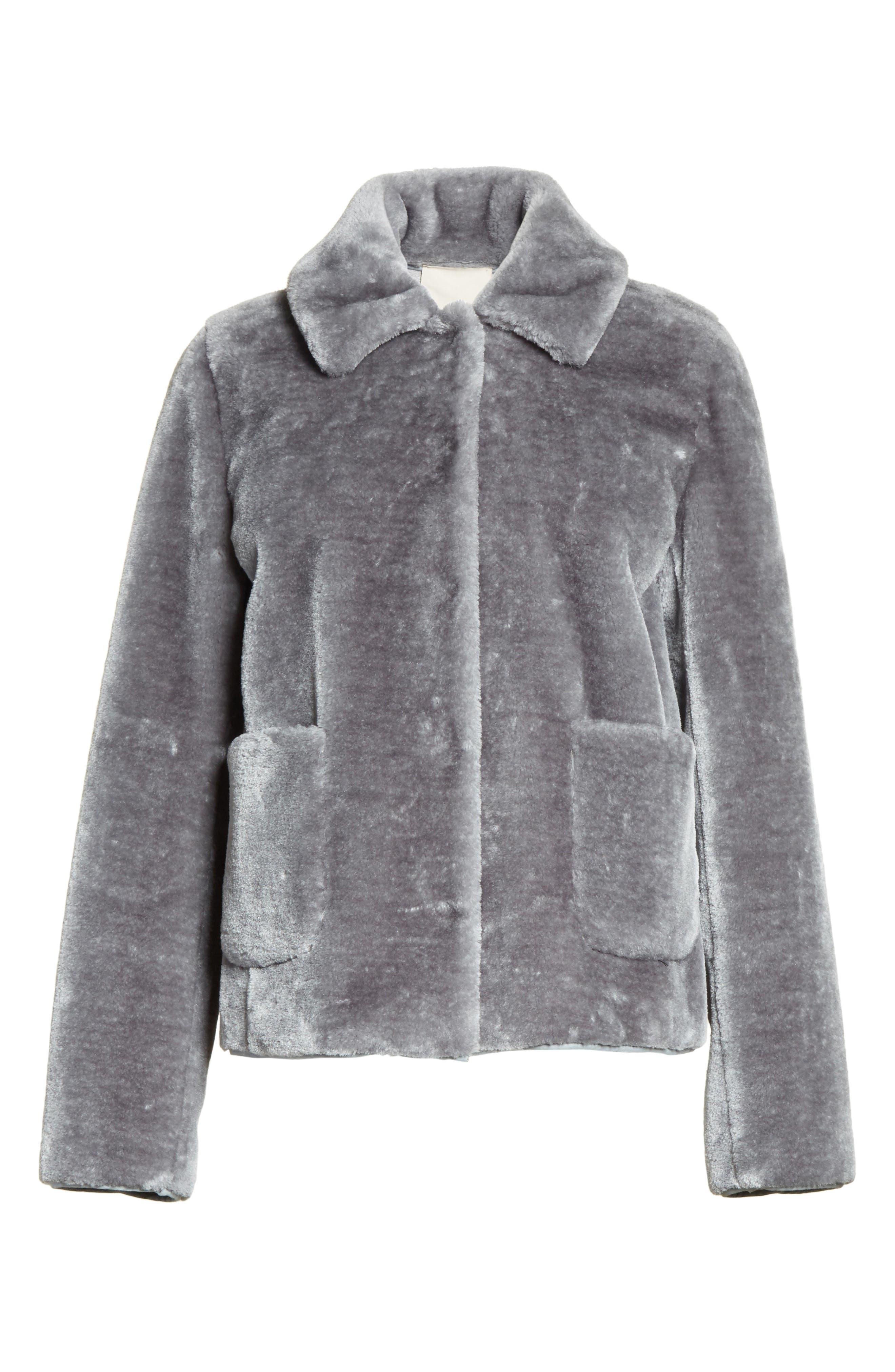 Faux Fur Jacket,                             Alternate thumbnail 5, color,                             063