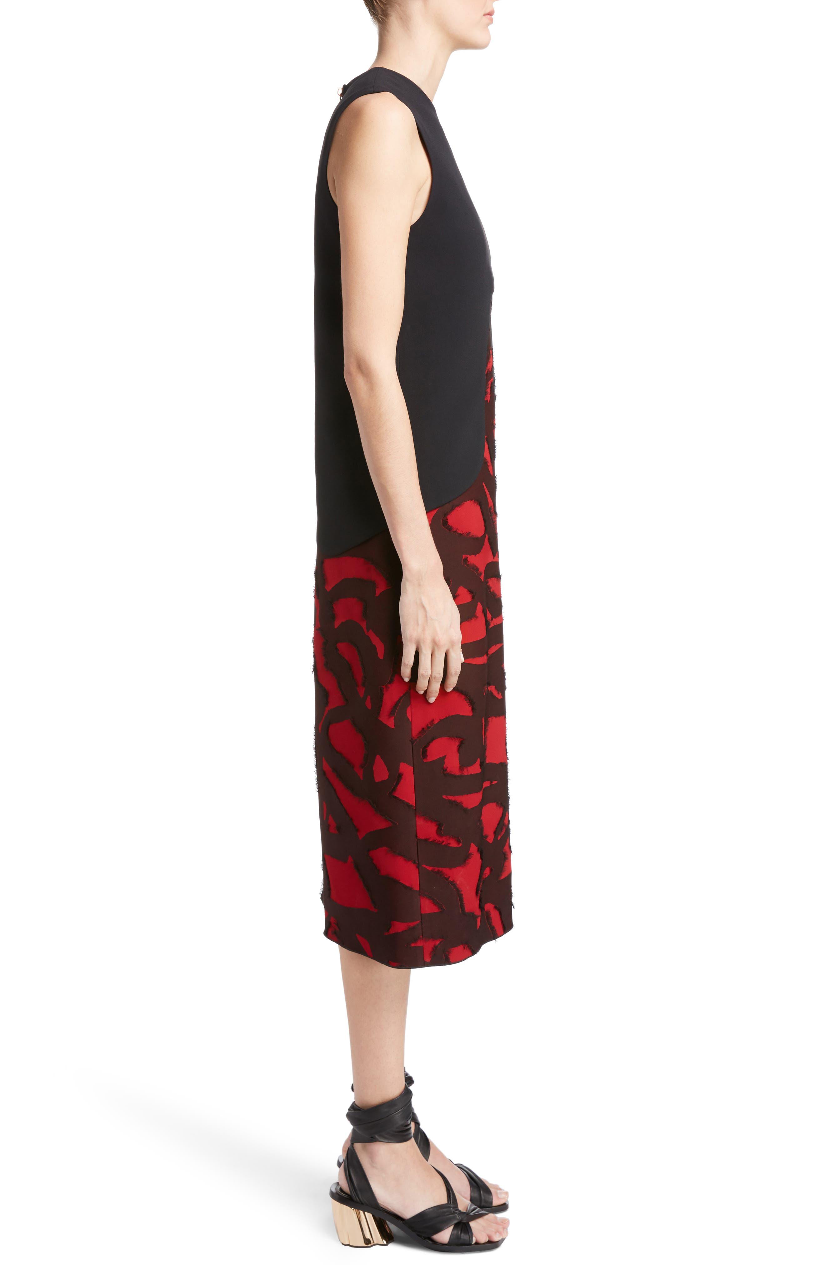 Fil Coupé Jacquard Layered Dress,                             Alternate thumbnail 3, color,                             001