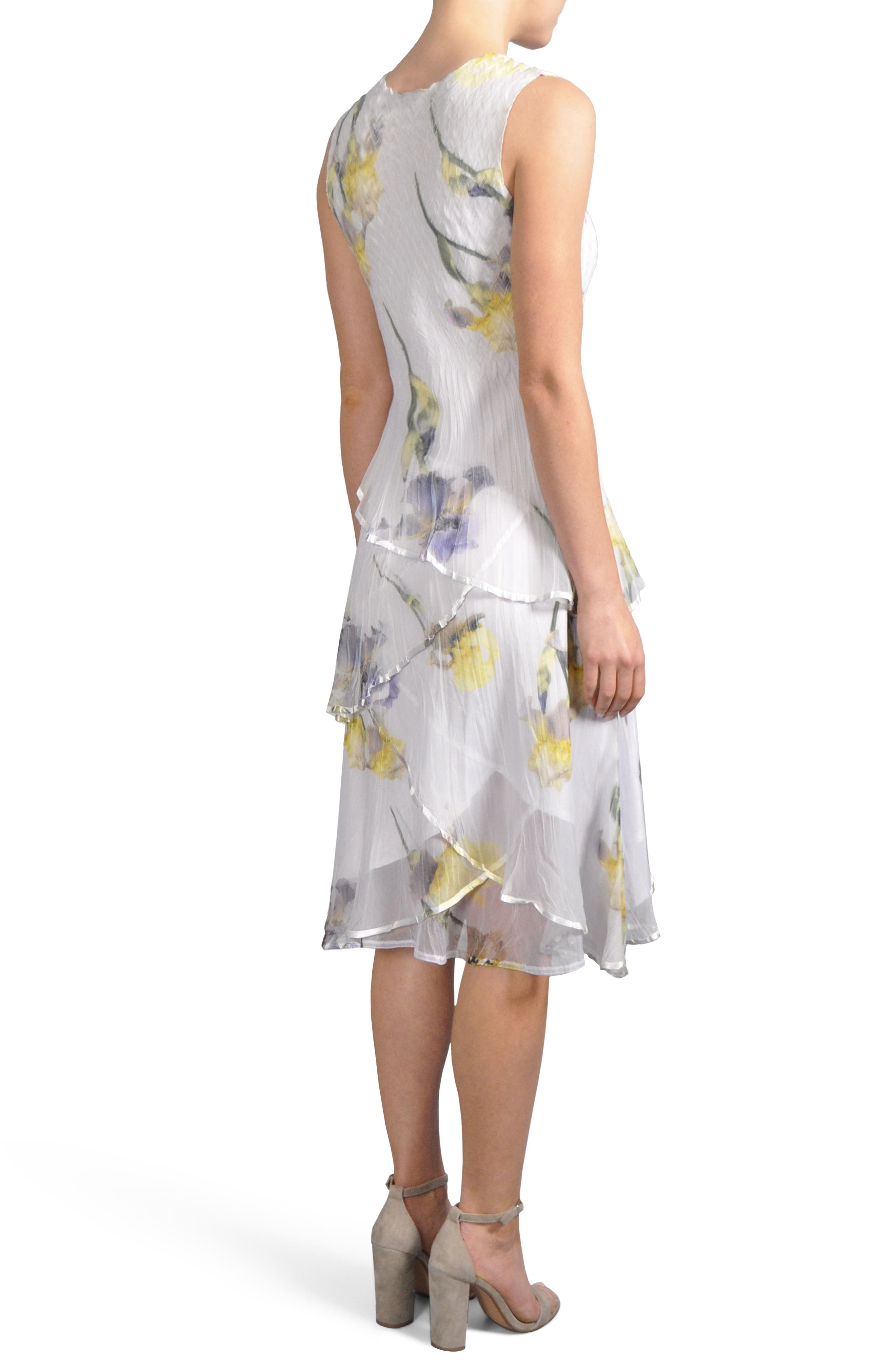 Tiered Chiffon Dress with Wrap,                             Alternate thumbnail 2, color,                             479
