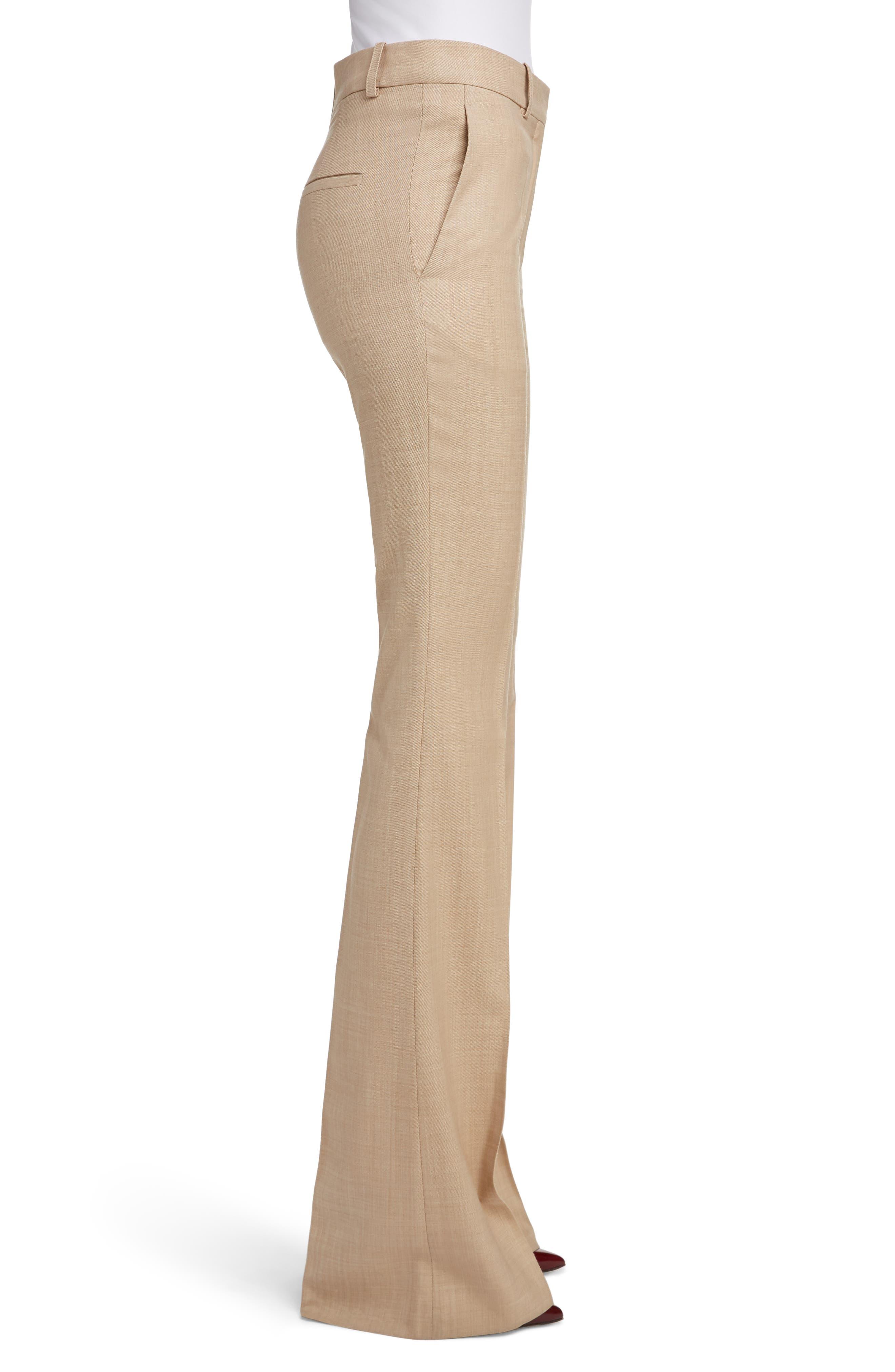 High Waist Flare Wool Pants,                             Alternate thumbnail 3, color,                             LIGHT BEIGE-WHITE