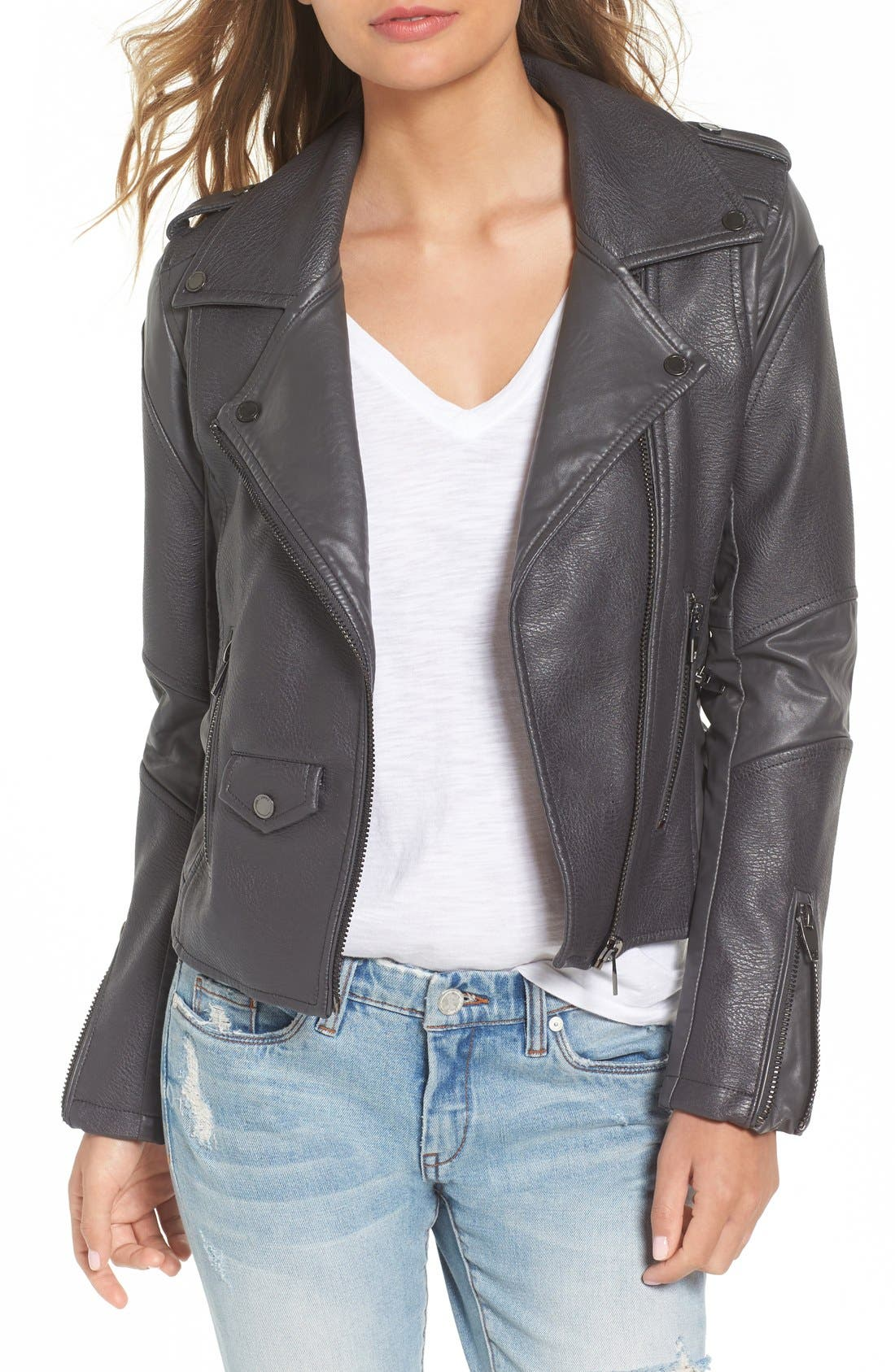 'Easy Rider' Faux Leather Moto Jacket,                             Main thumbnail 3, color,