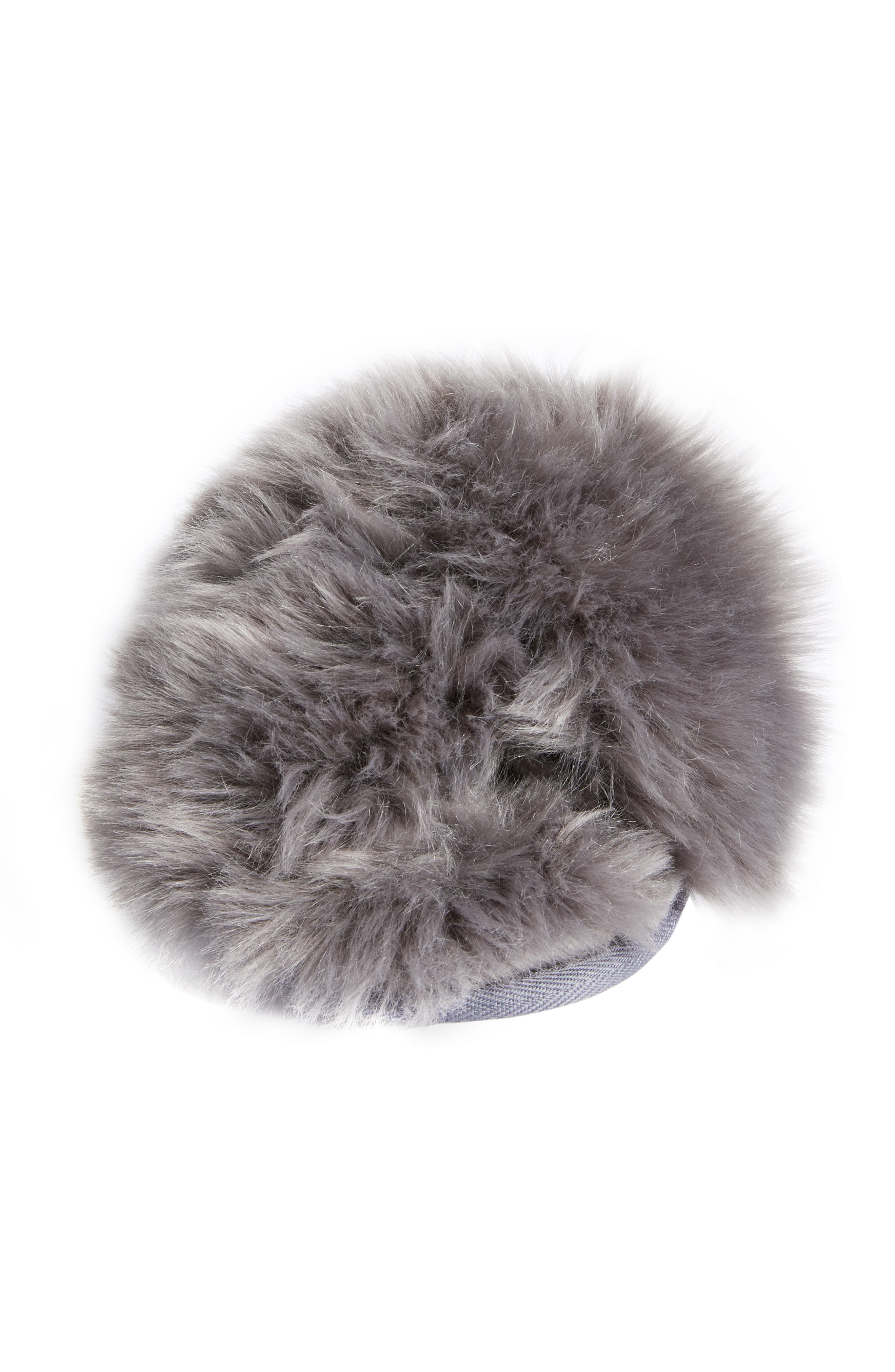 Cuddle Plush Faux Fur Scuff Slipper,                             Alternate thumbnail 4, color,                             GREY ASPHALT