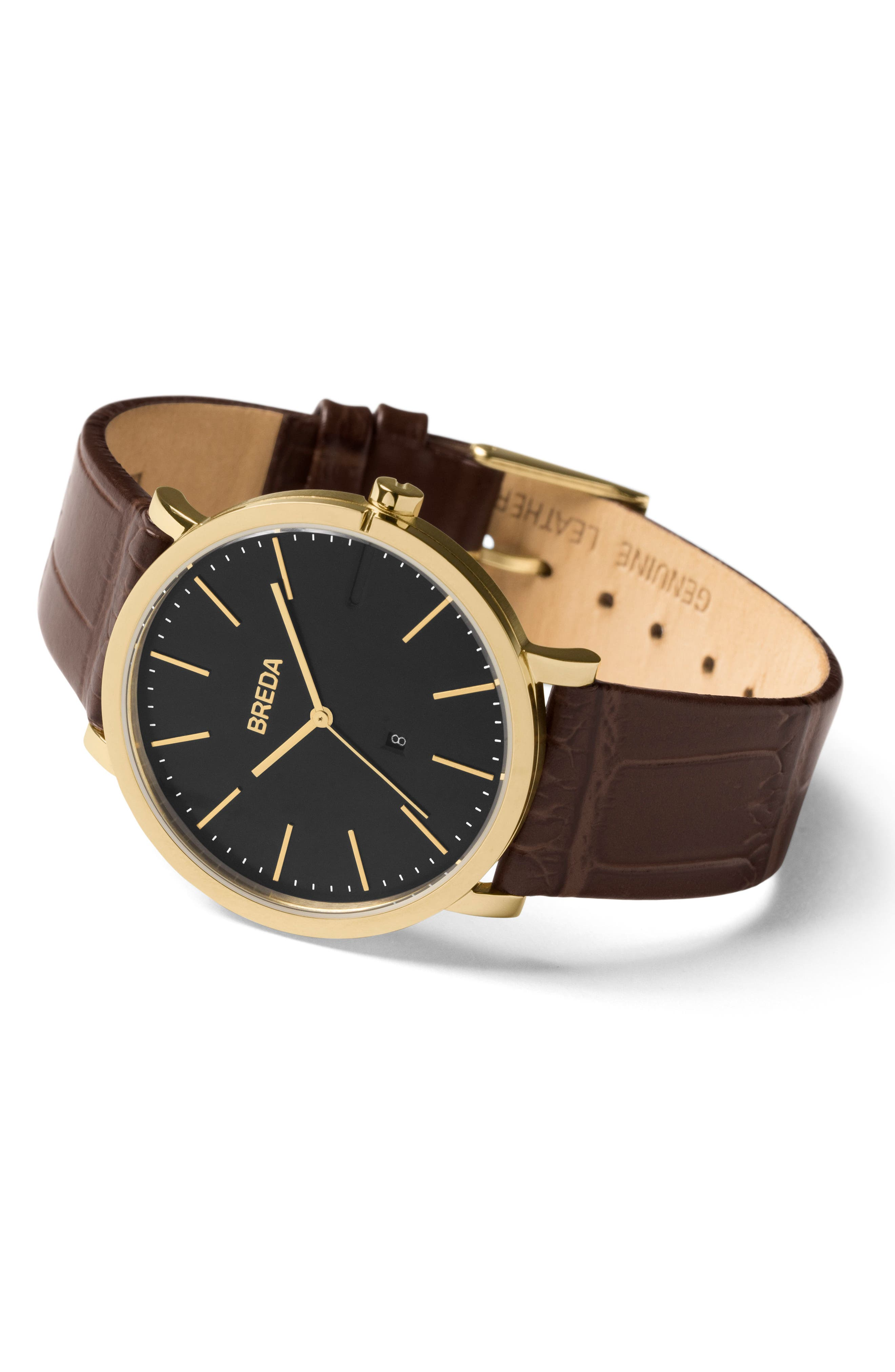 Breuer Leather Strap Watch, 39mm,                             Alternate thumbnail 9, color,