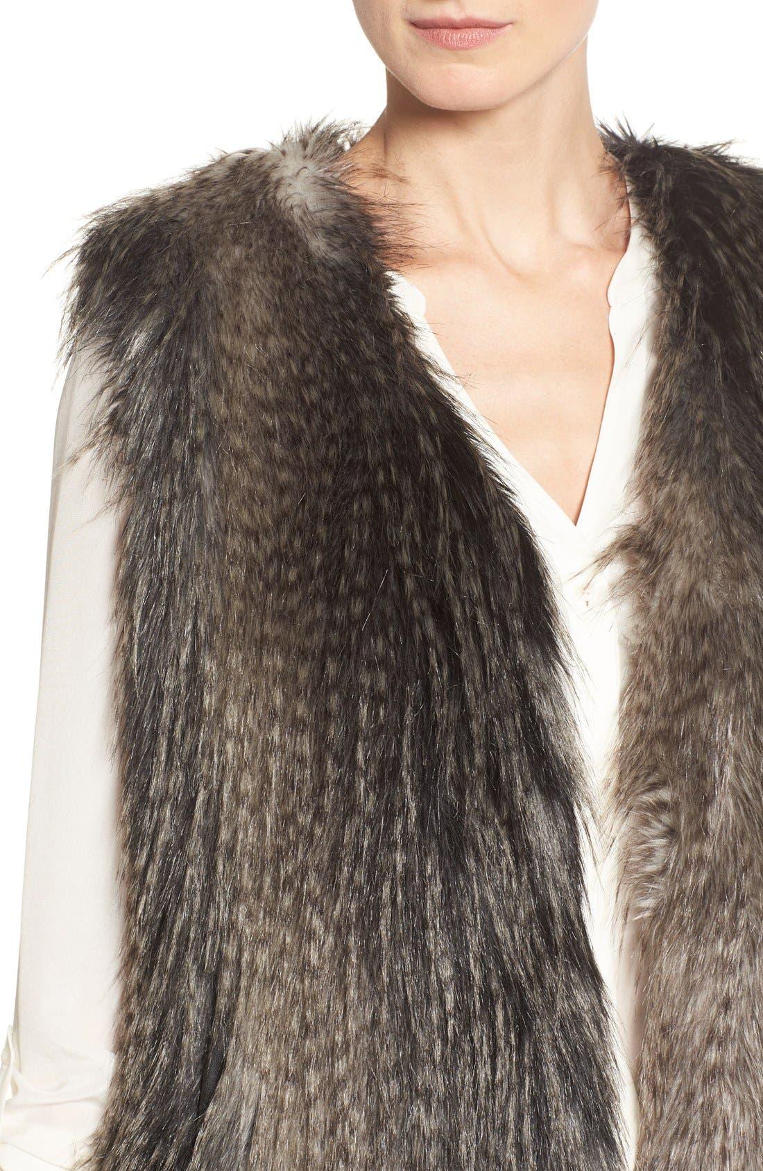 Collarless Faux Fur Vest,                             Alternate thumbnail 11, color,