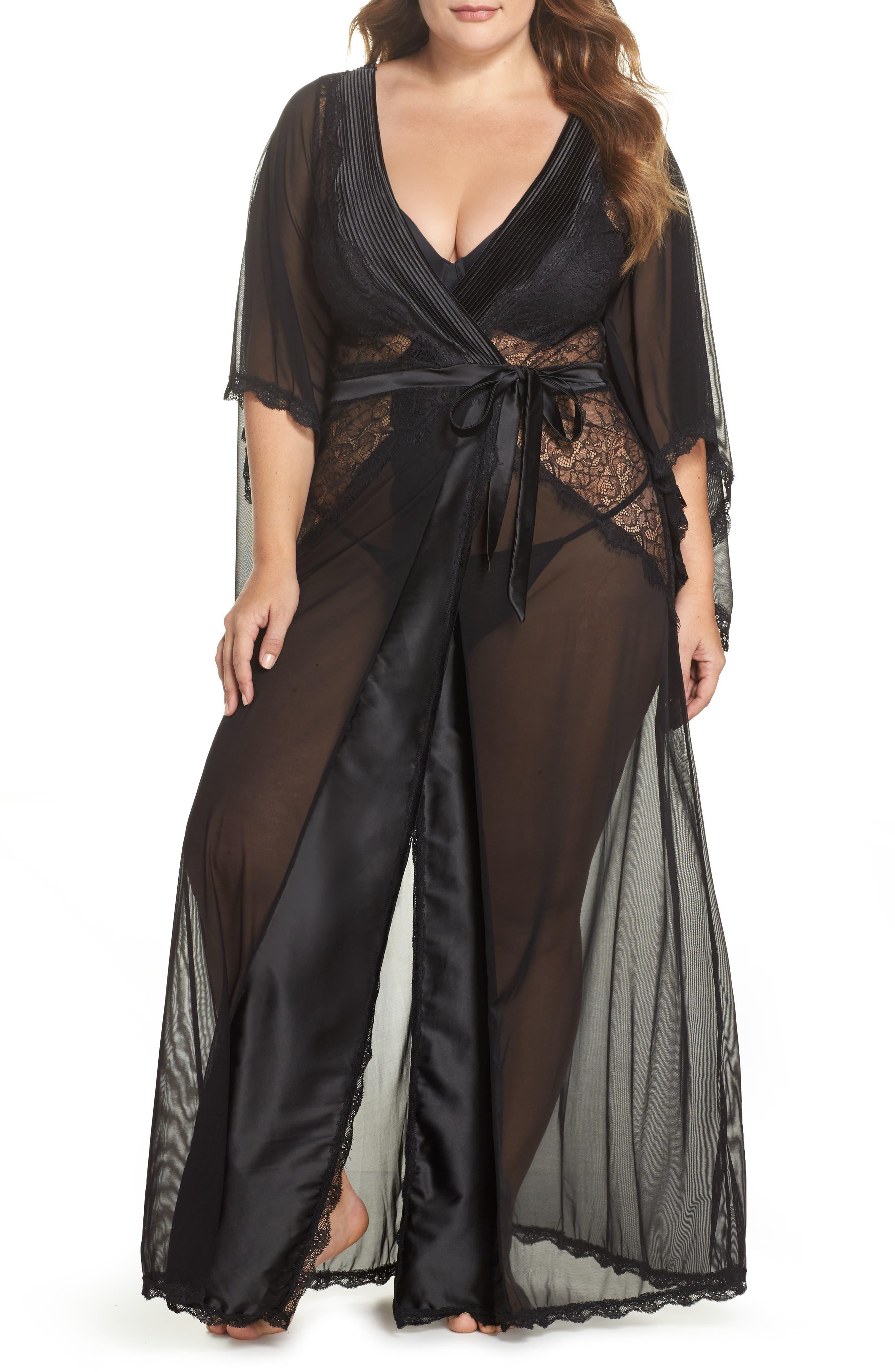 Nicolette Sheer Robe & G-String,                         Main,                         color, BLACK