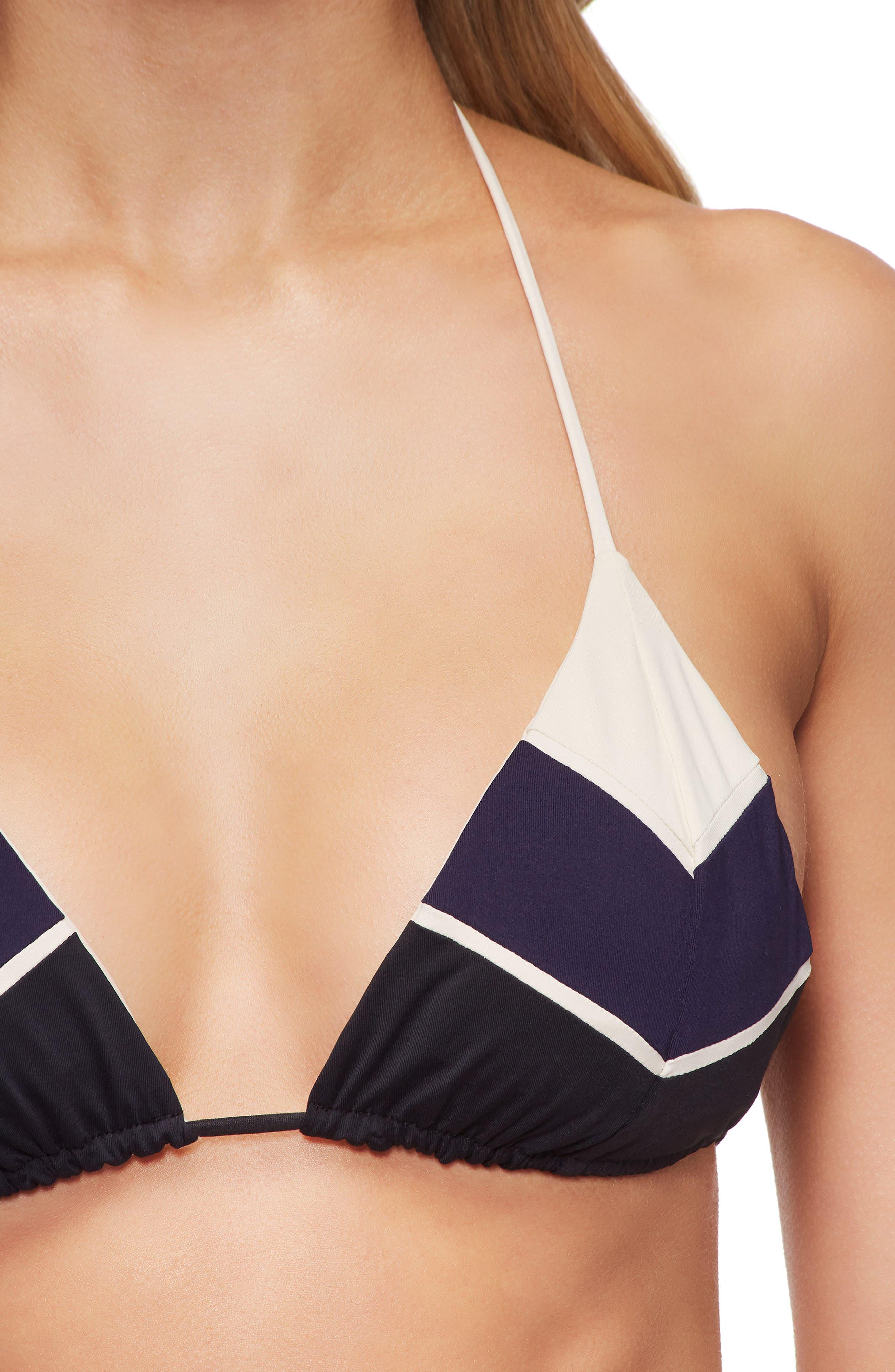 Swimwear Lea Triangle Bikini Top,                             Alternate thumbnail 4, color,                             TAPIOCA/EVENING BLUE