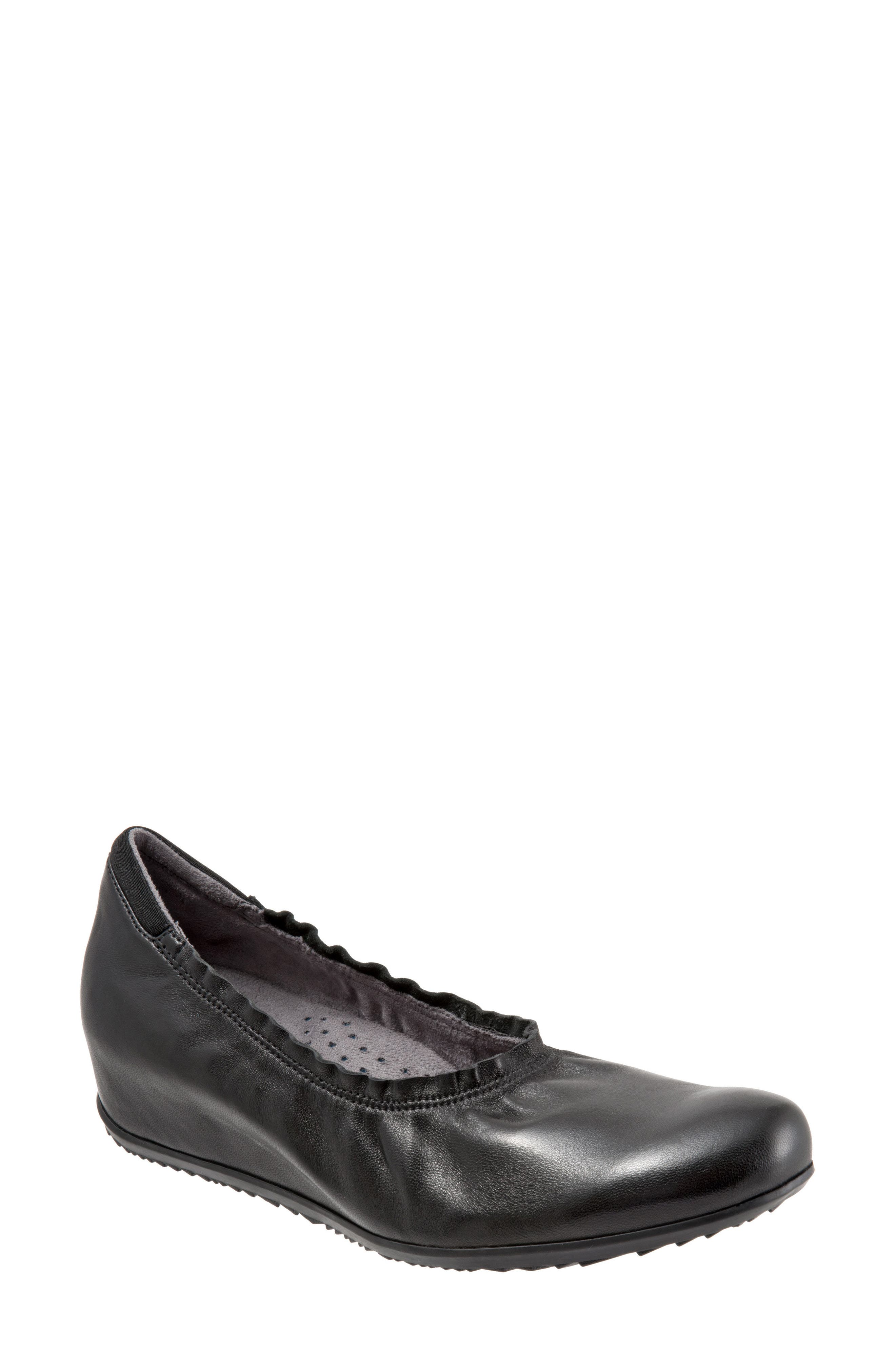 Wish Ballet Wedge,                             Main thumbnail 1, color,                             BLACK LEATHER