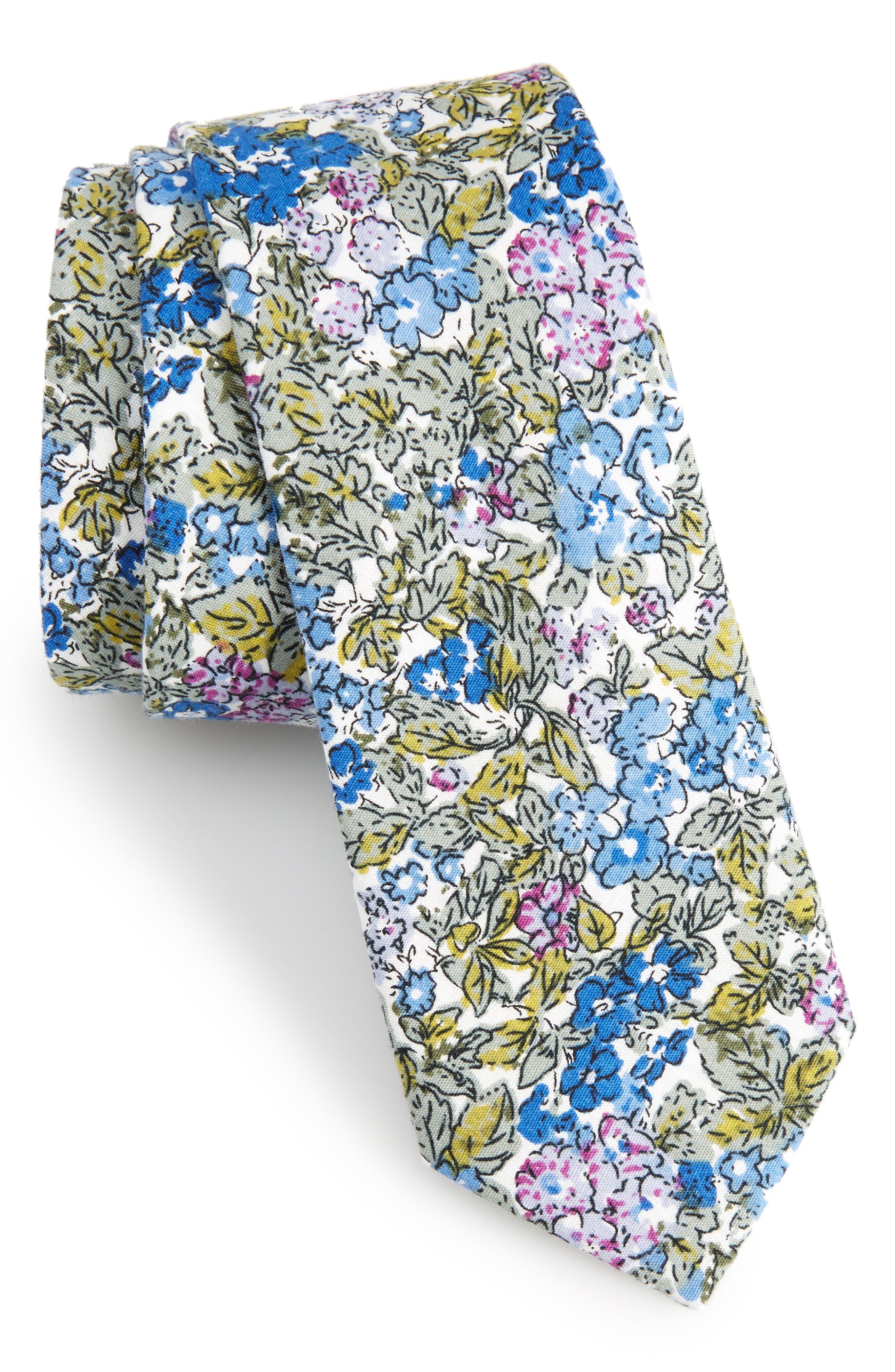 Raglan Floral Cotton Skinny Tie,                             Main thumbnail 1, color,                             400