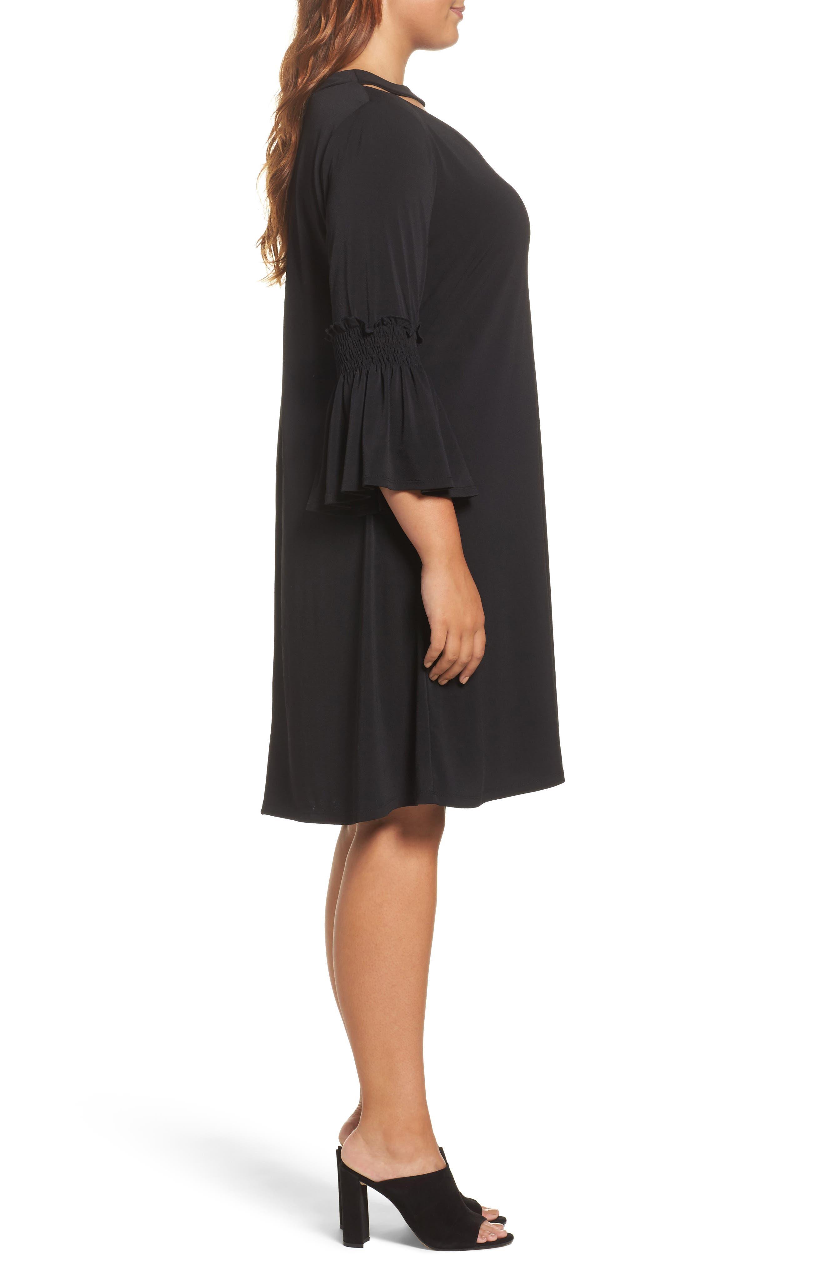 Bell Sleeve A-Line Choker Dress,                             Alternate thumbnail 3, color,                             001