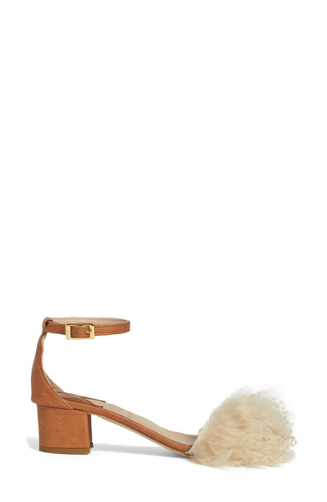Tufted Dhara Genuine Shearling Ankle Strap Sandal,                             Alternate thumbnail 3, color,                             270