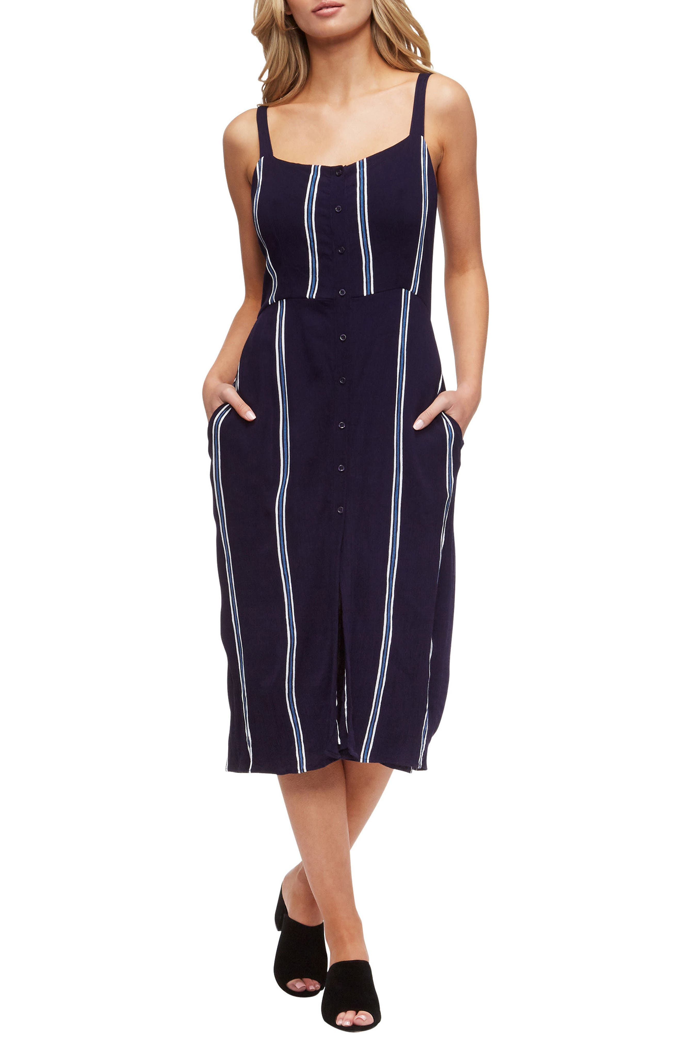Geni Cover-Up Dress,                         Main,                         color, EVENING BLUE/WHITE STRIPE