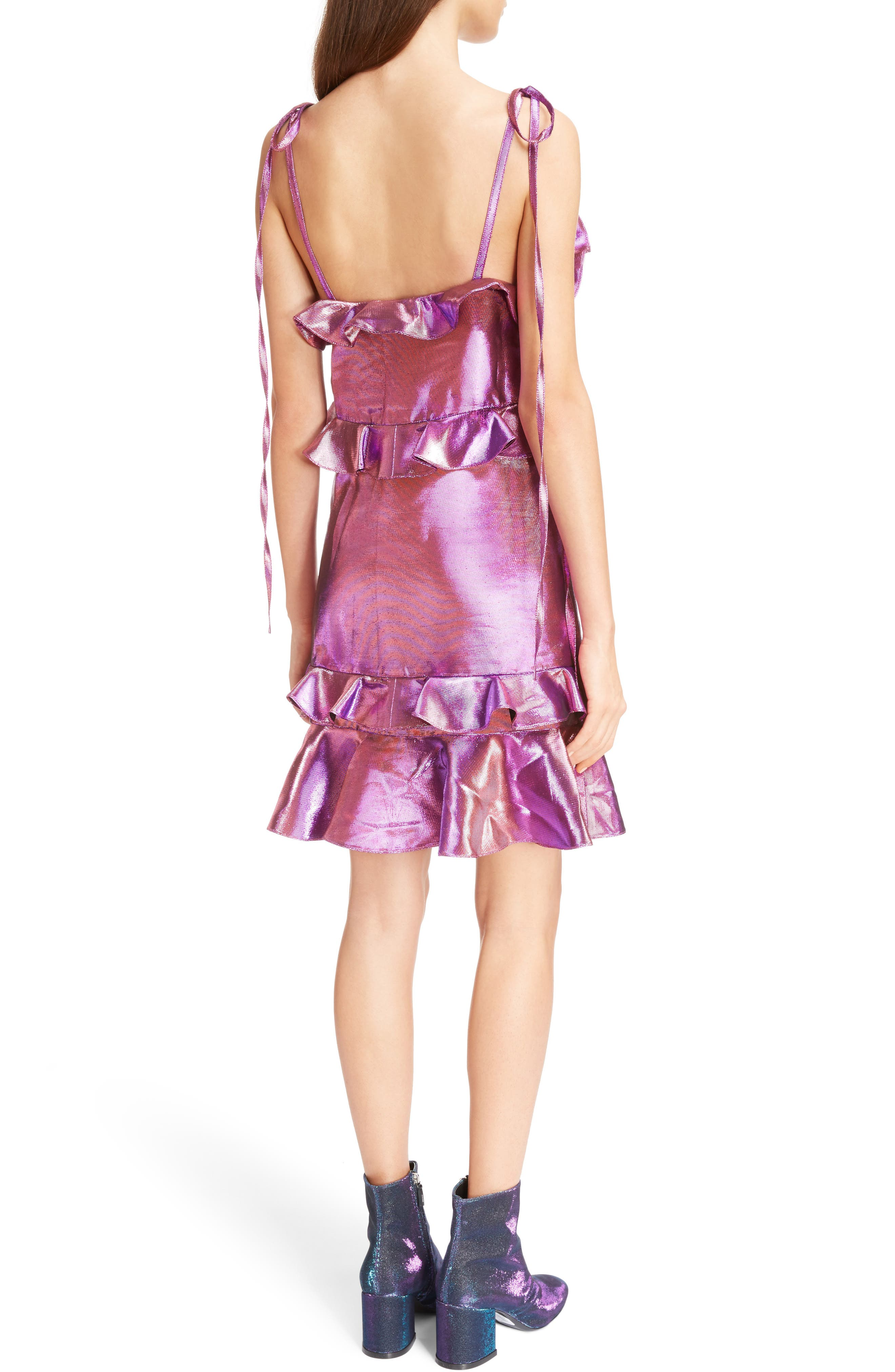Metallic Ruffle Dress,                             Alternate thumbnail 2, color,                             513