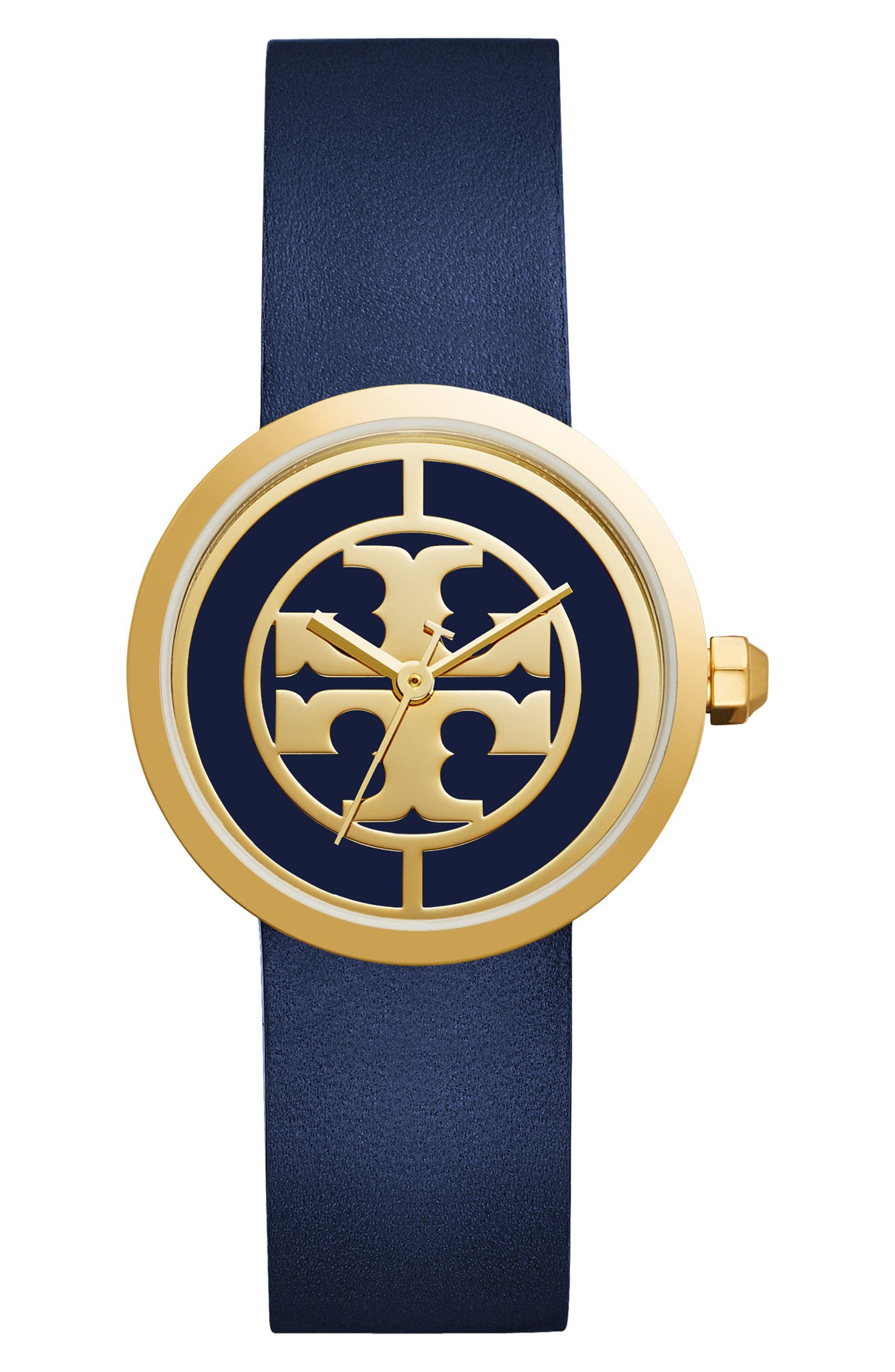 Reva Logo Dial Leather Strap Watch, 36mm,                         Main,                         color, NAVY/ IVORY/ GOLD