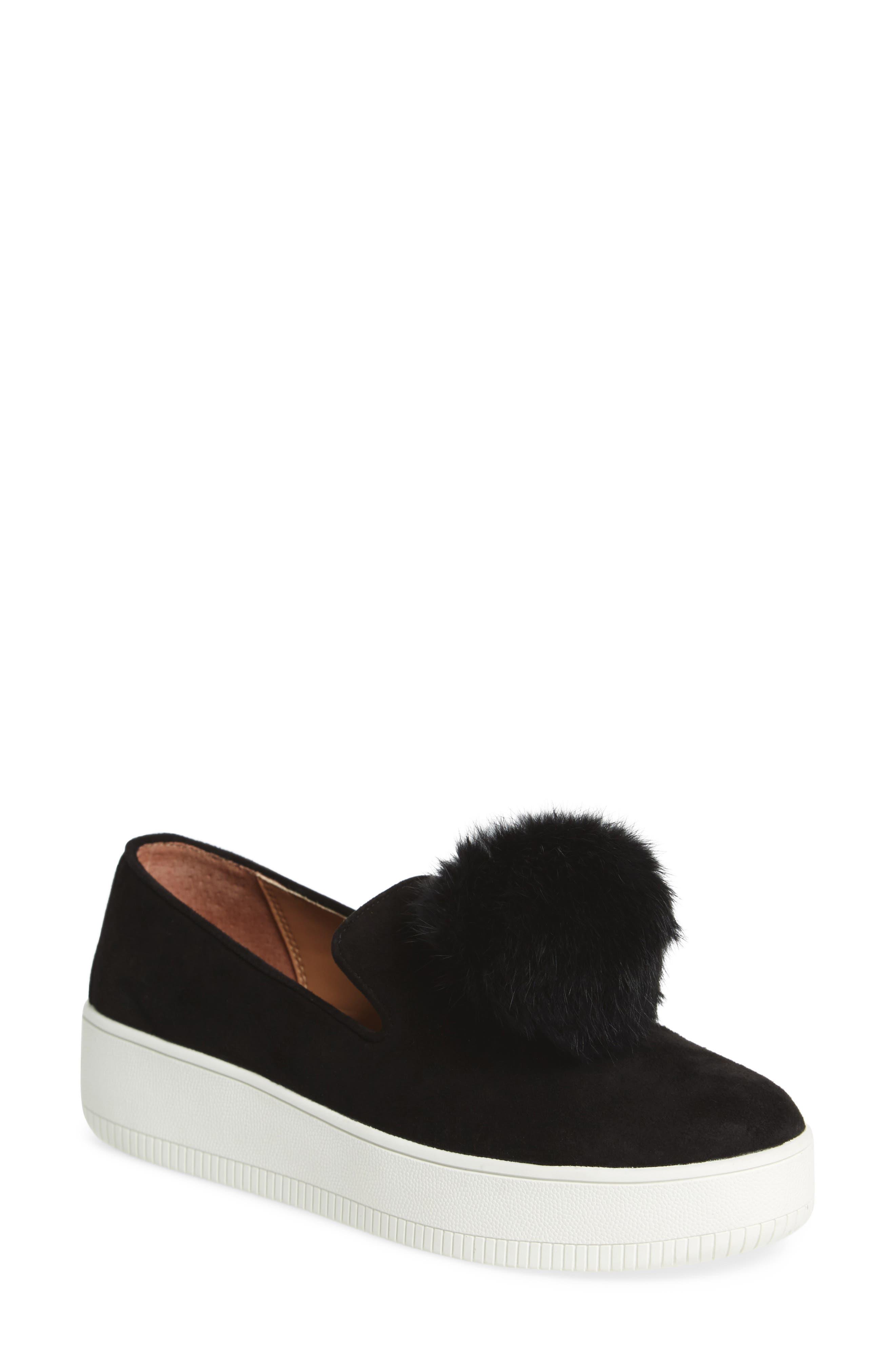Sammy Platform Sneaker with Genuine Rabbit Fur Pompom,                             Main thumbnail 1, color,                             002