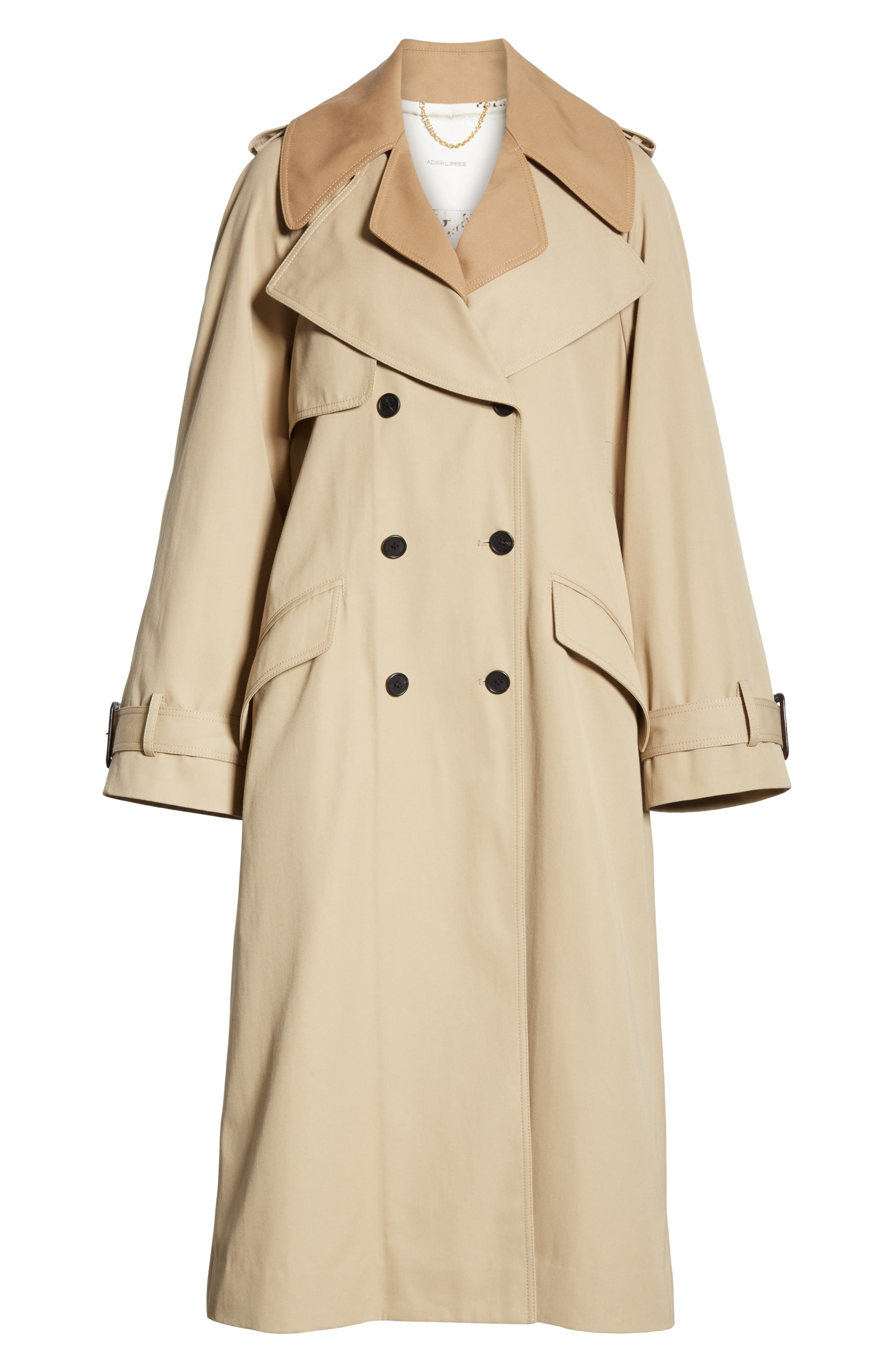 Trench Coat with Vest & Removable Fringe,                             Alternate thumbnail 6, color,                             KHAKI/ TAN