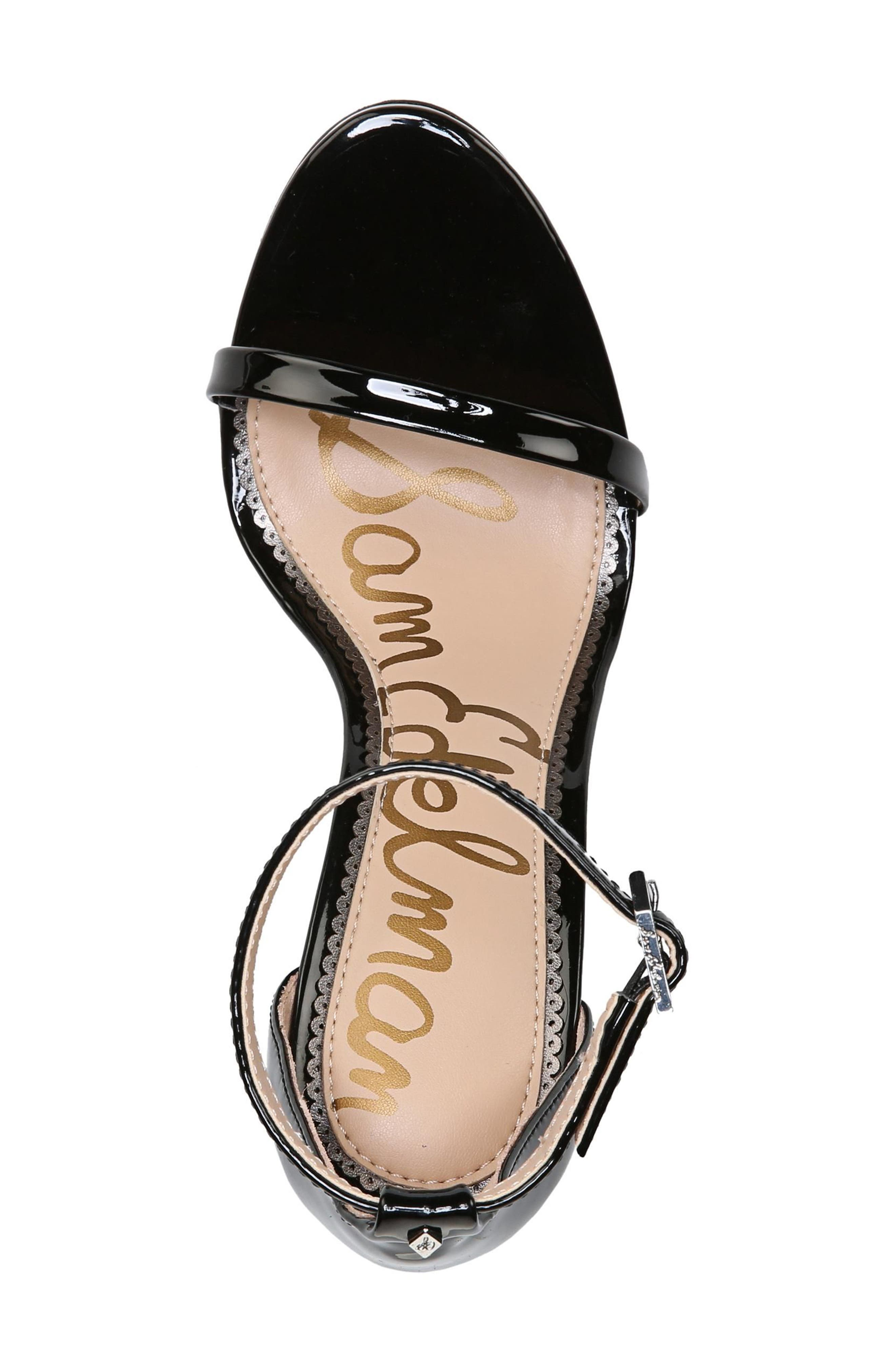 Ariella Ankle Strap Sandal,                             Alternate thumbnail 5, color,                             BLACK PATENT LEATHER