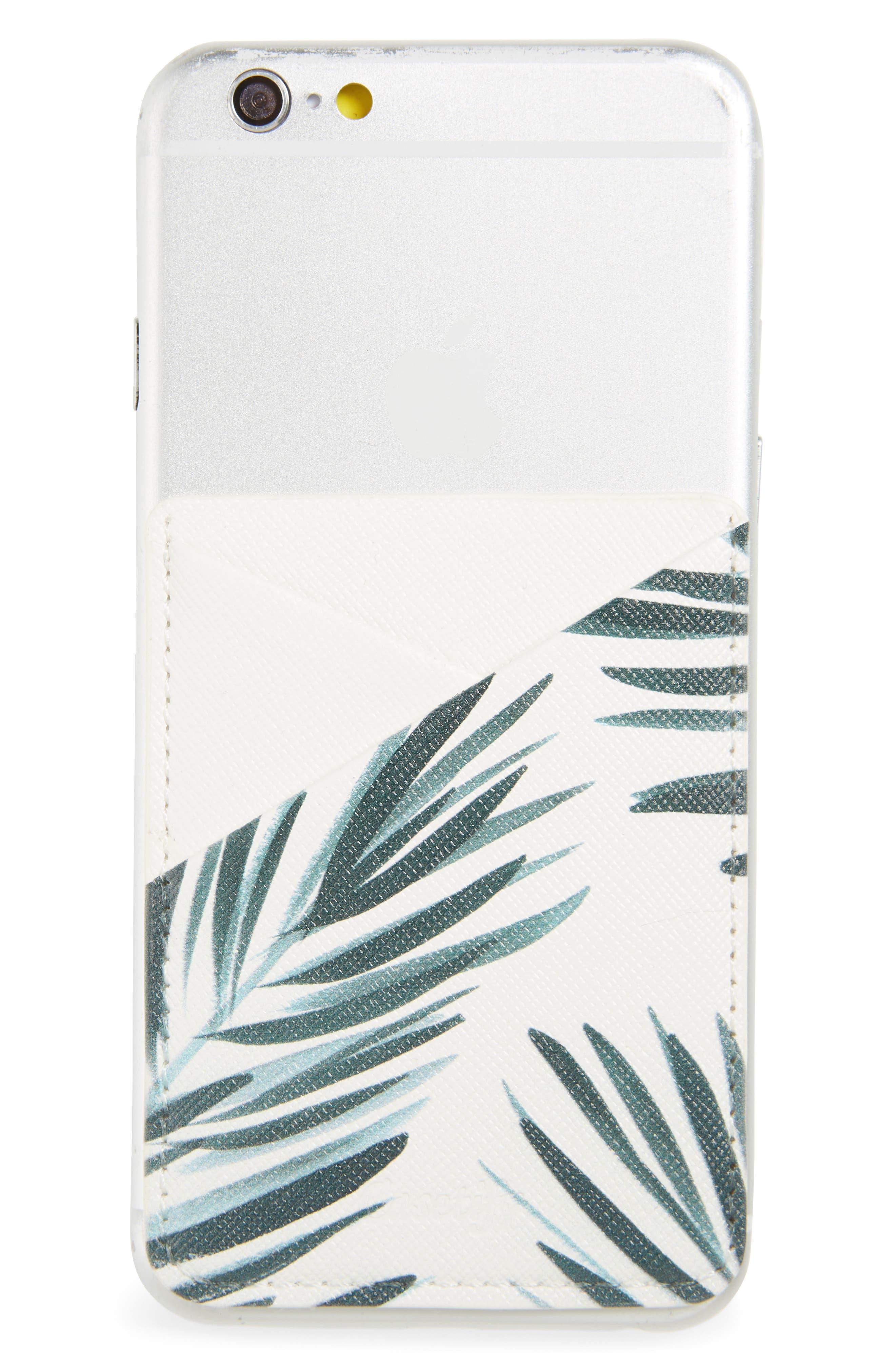 Palm Leaf Adhesive Card Pocket,                             Alternate thumbnail 2, color,                             PALM