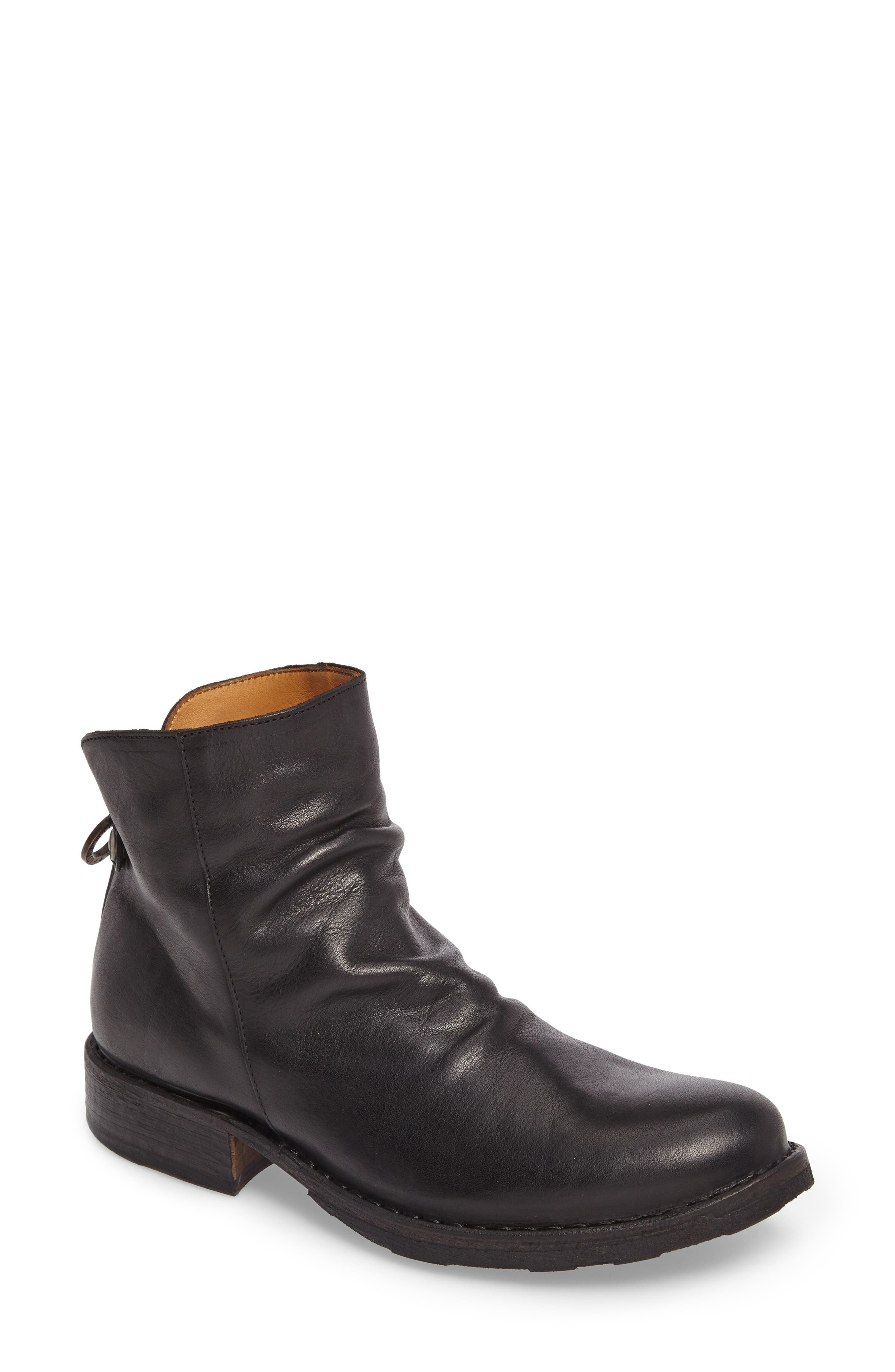 Elina Slightly Slouchy Bootie,                             Main thumbnail 1, color,                             BLACK