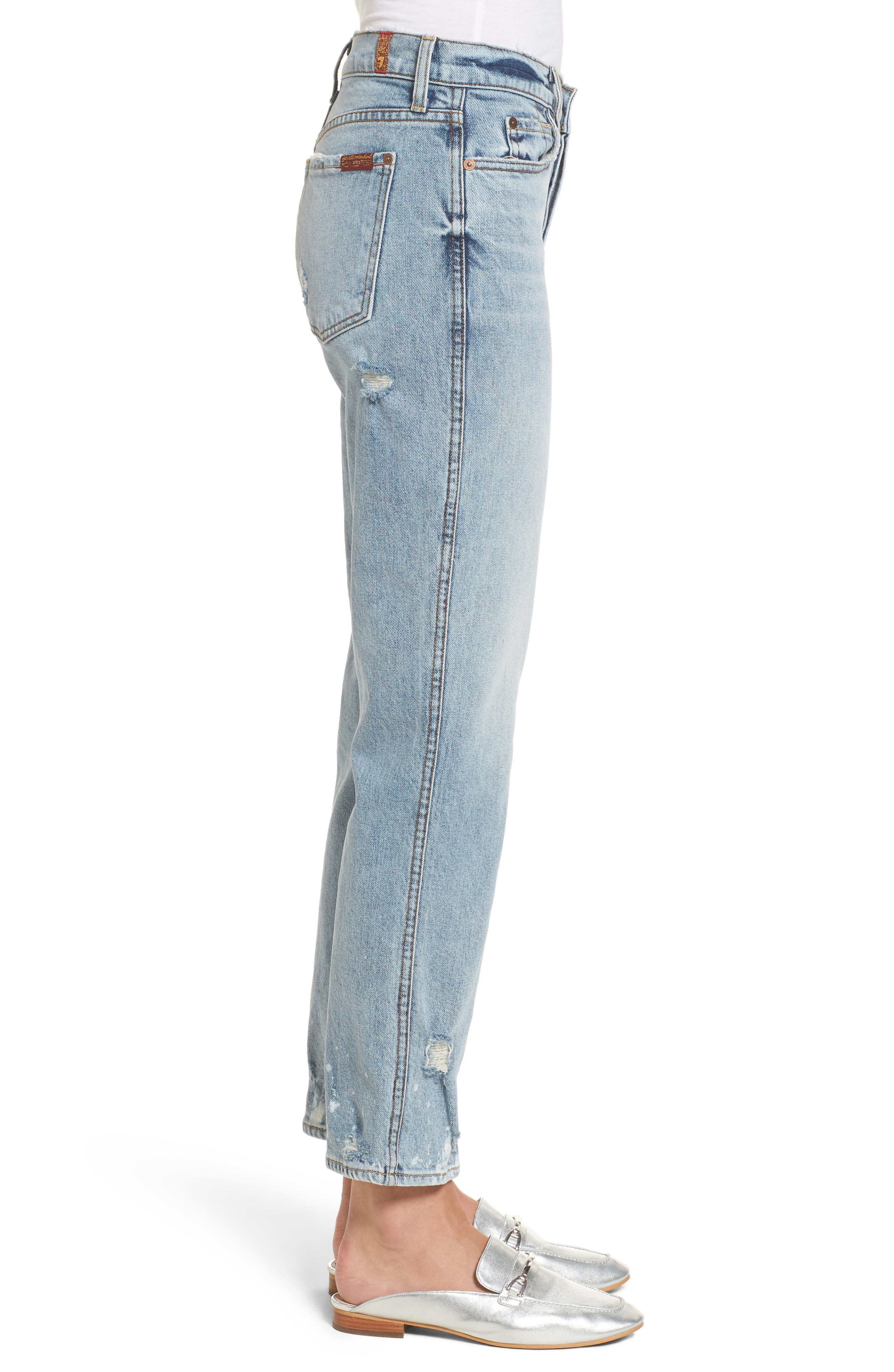 Edie High Waist Crop Straight Leg Jeans,                             Alternate thumbnail 3, color,                             400