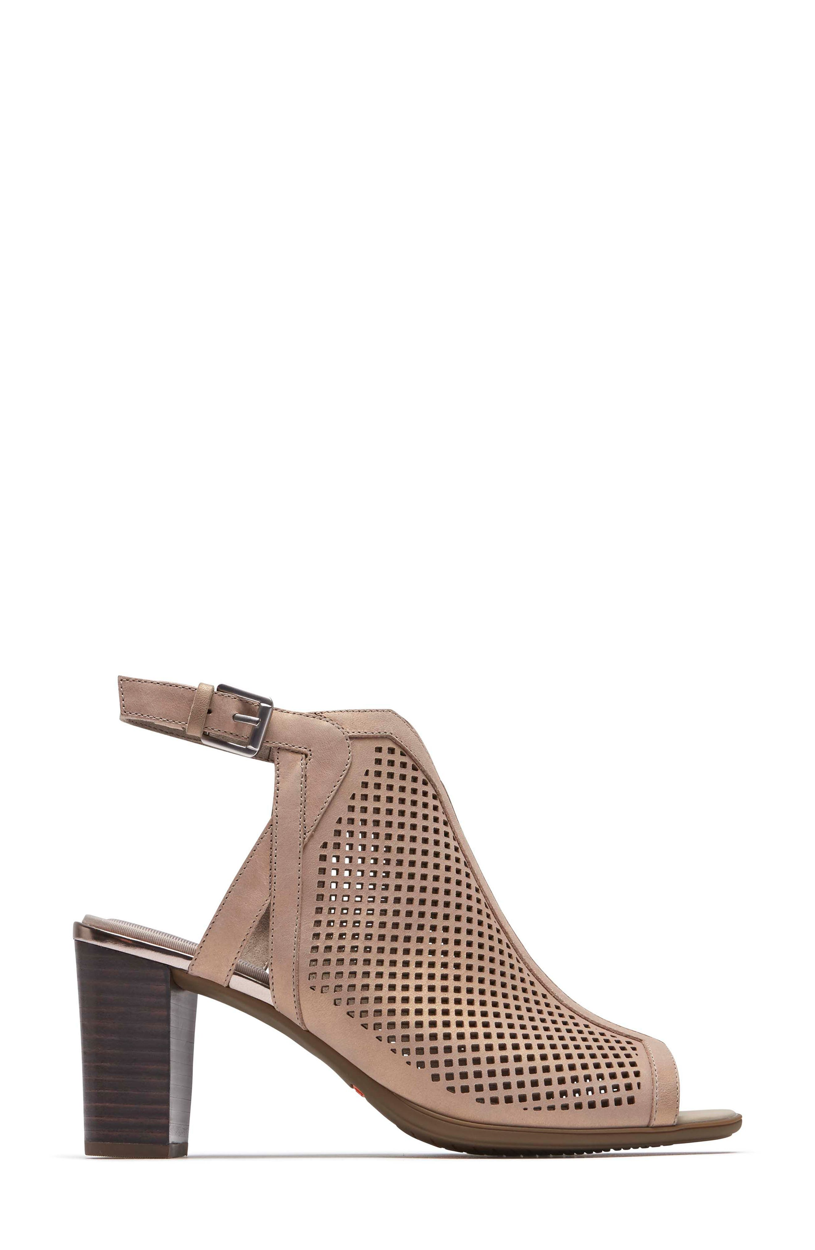 Total Motion Luxe Perforated Sandal,                             Alternate thumbnail 3, color,                             DOVE LEATHER