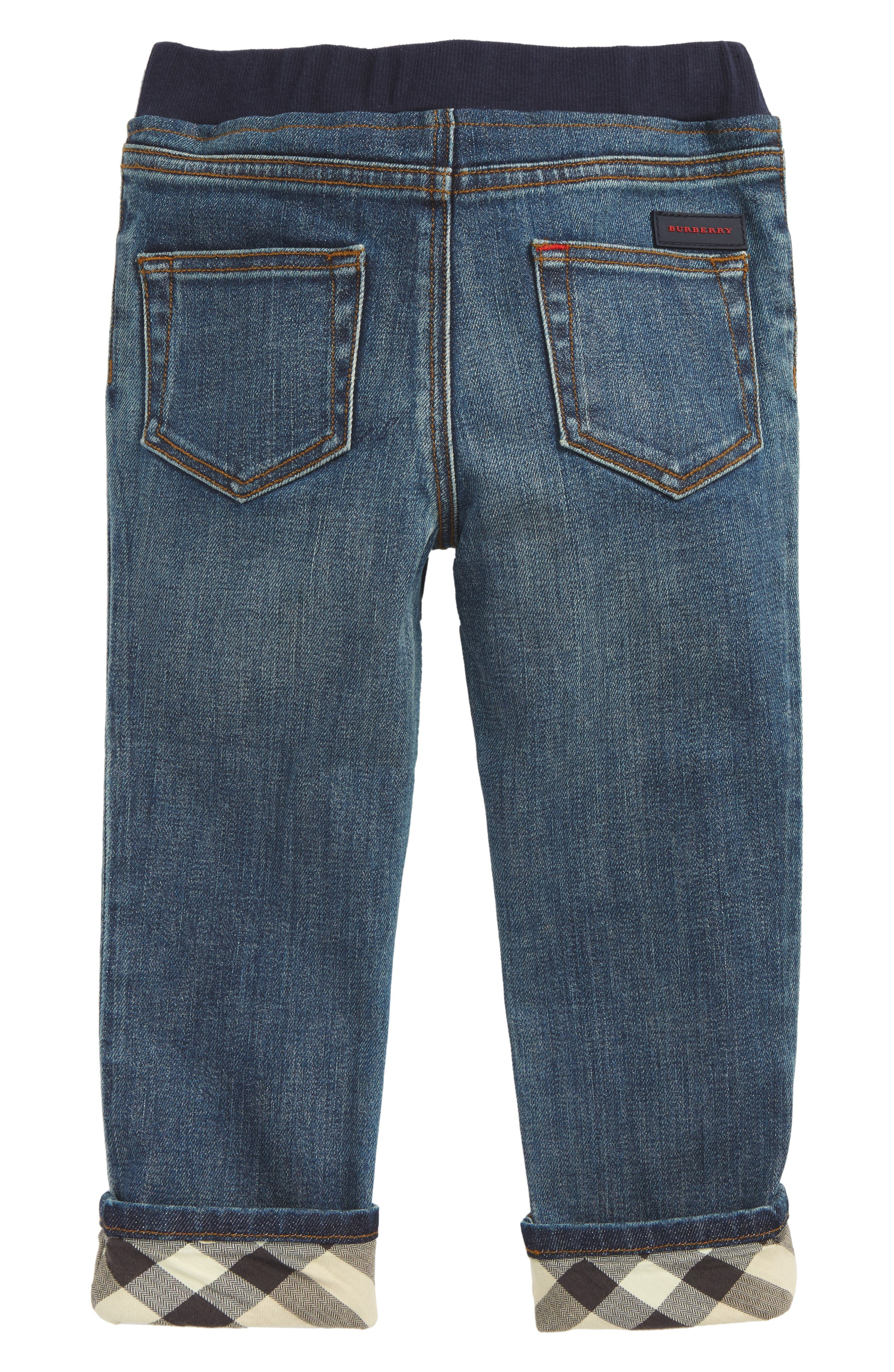 Check Cuff Pull-On Jeans,                             Alternate thumbnail 2, color,                             MID INDIGO