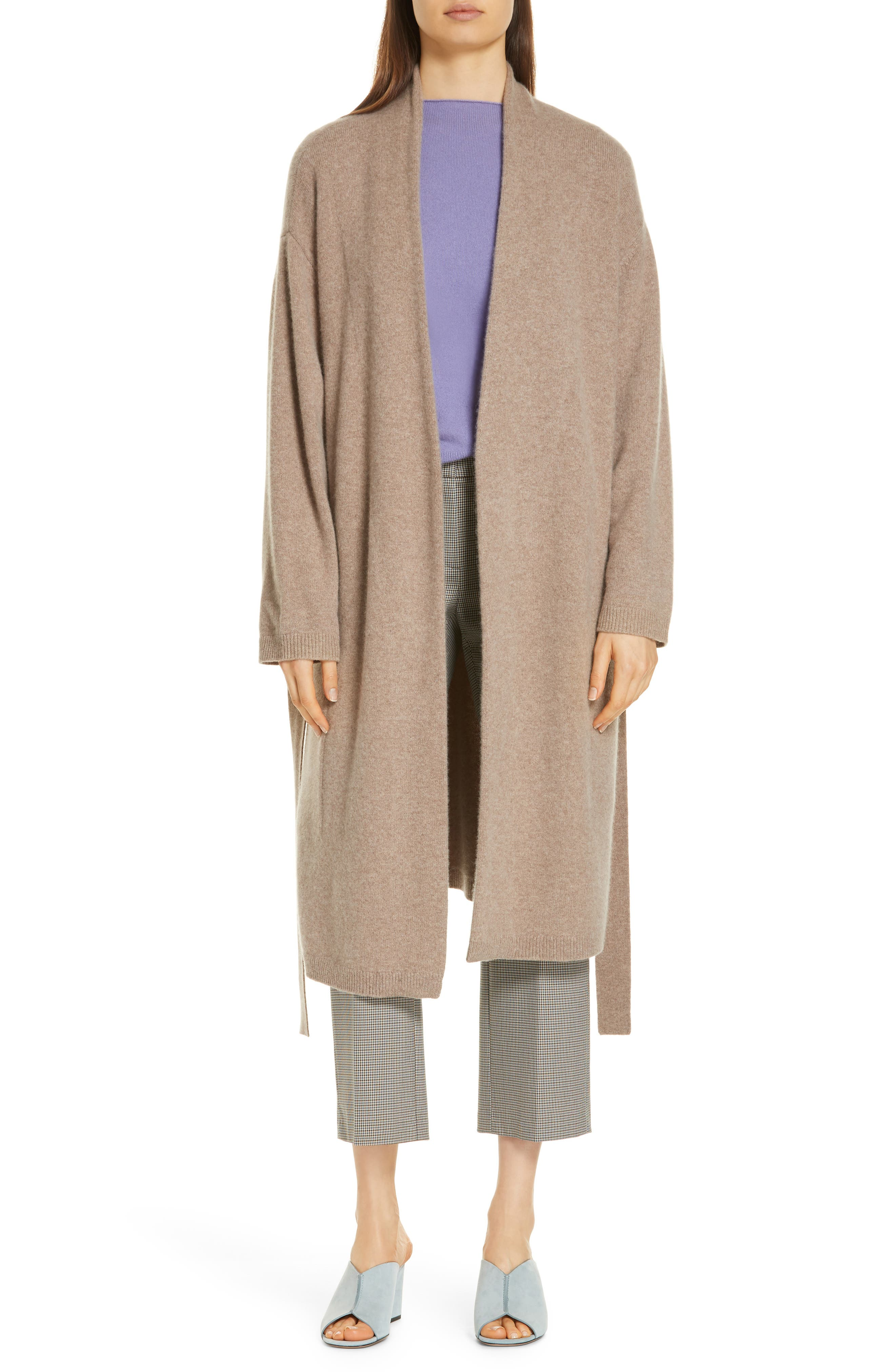 Long Boiled Cashmere Cardigan,                             Main thumbnail 1, color,                             GREY TAUPE HEATHER