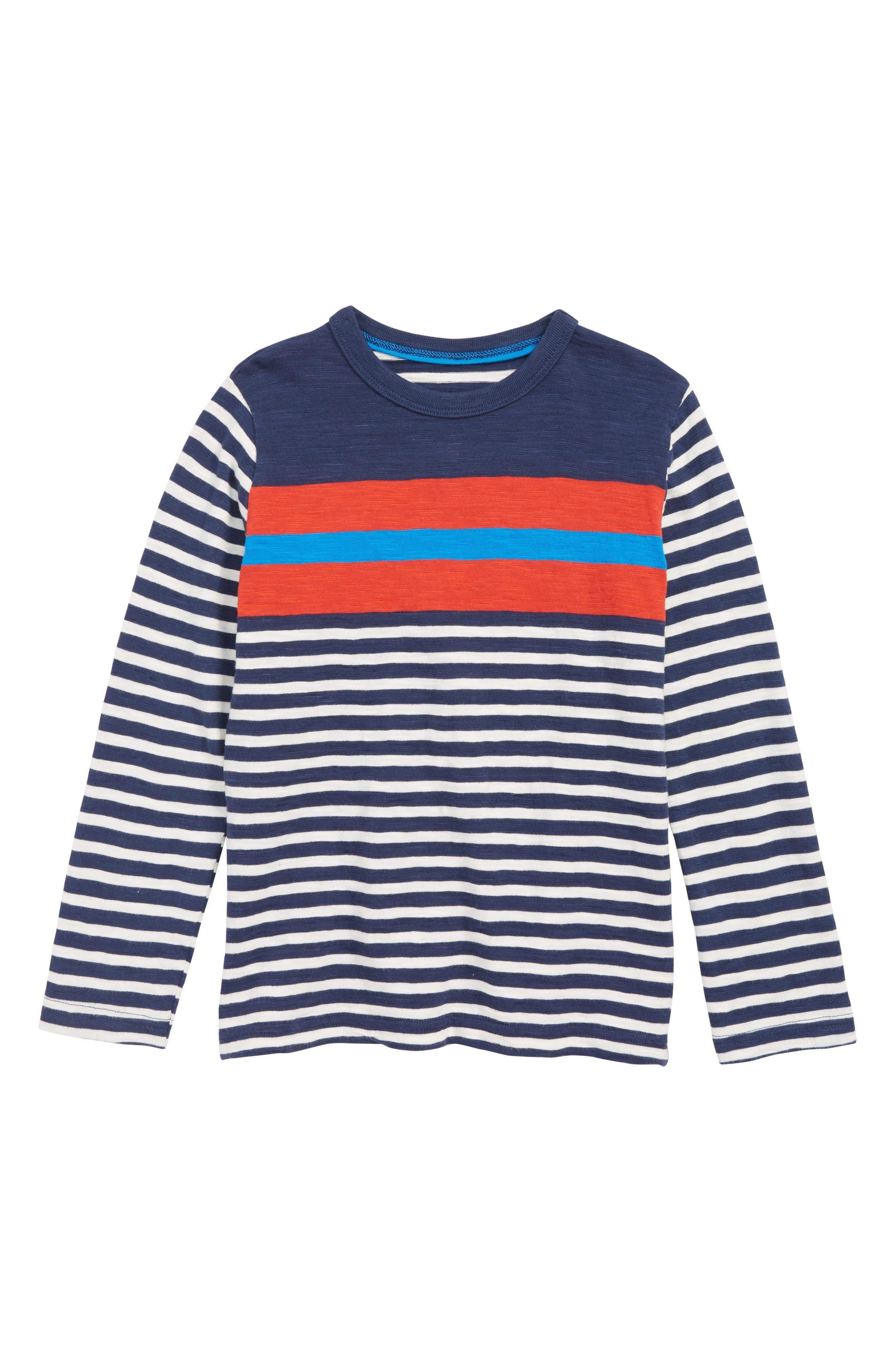 Boys Mini Boden Stripy TShirt Size 910Y  Grey