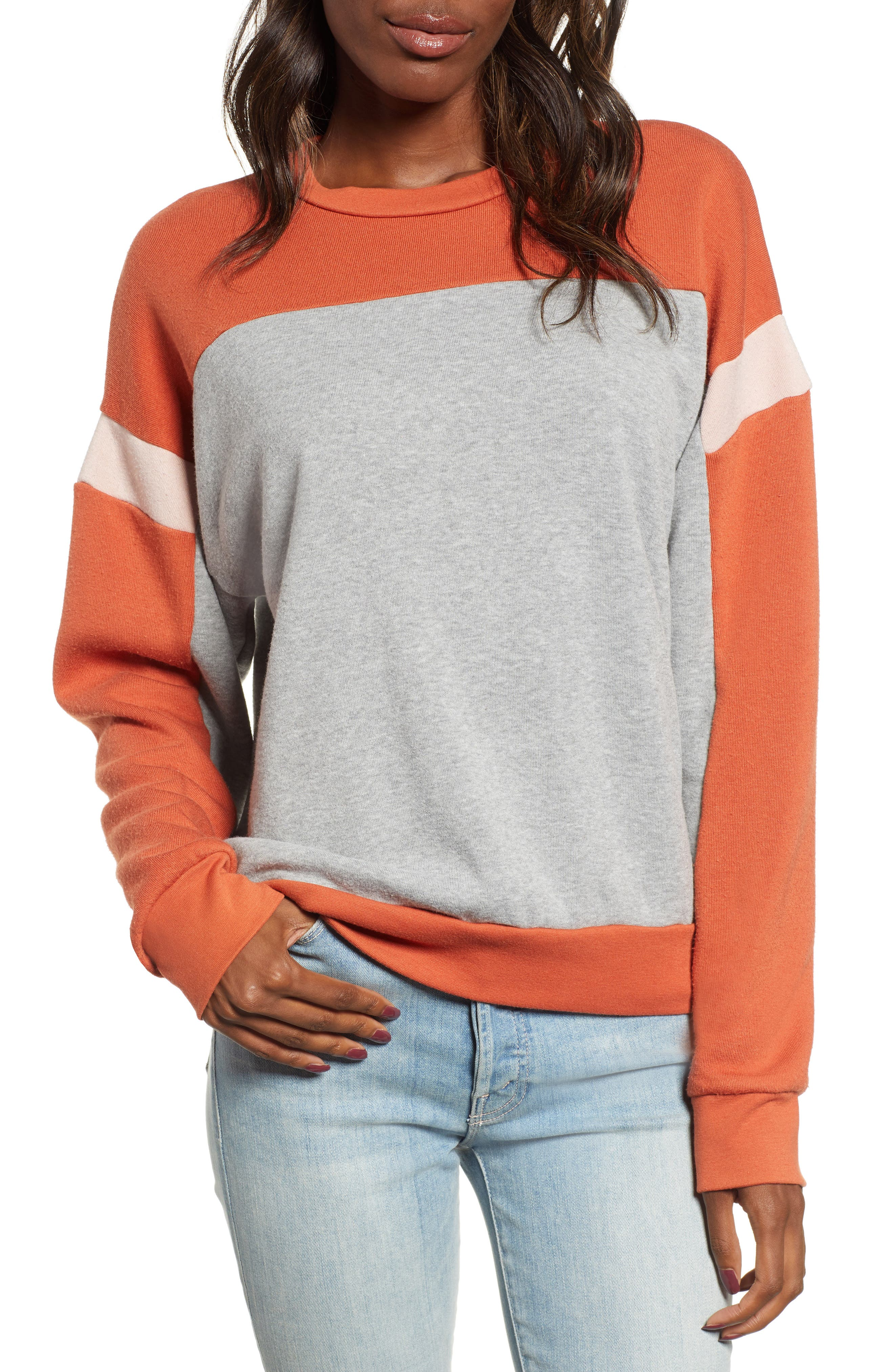 Rewind Colorblock Sweatshirt,                             Main thumbnail 1, color,                             HEATHER GREY/ SERRANO