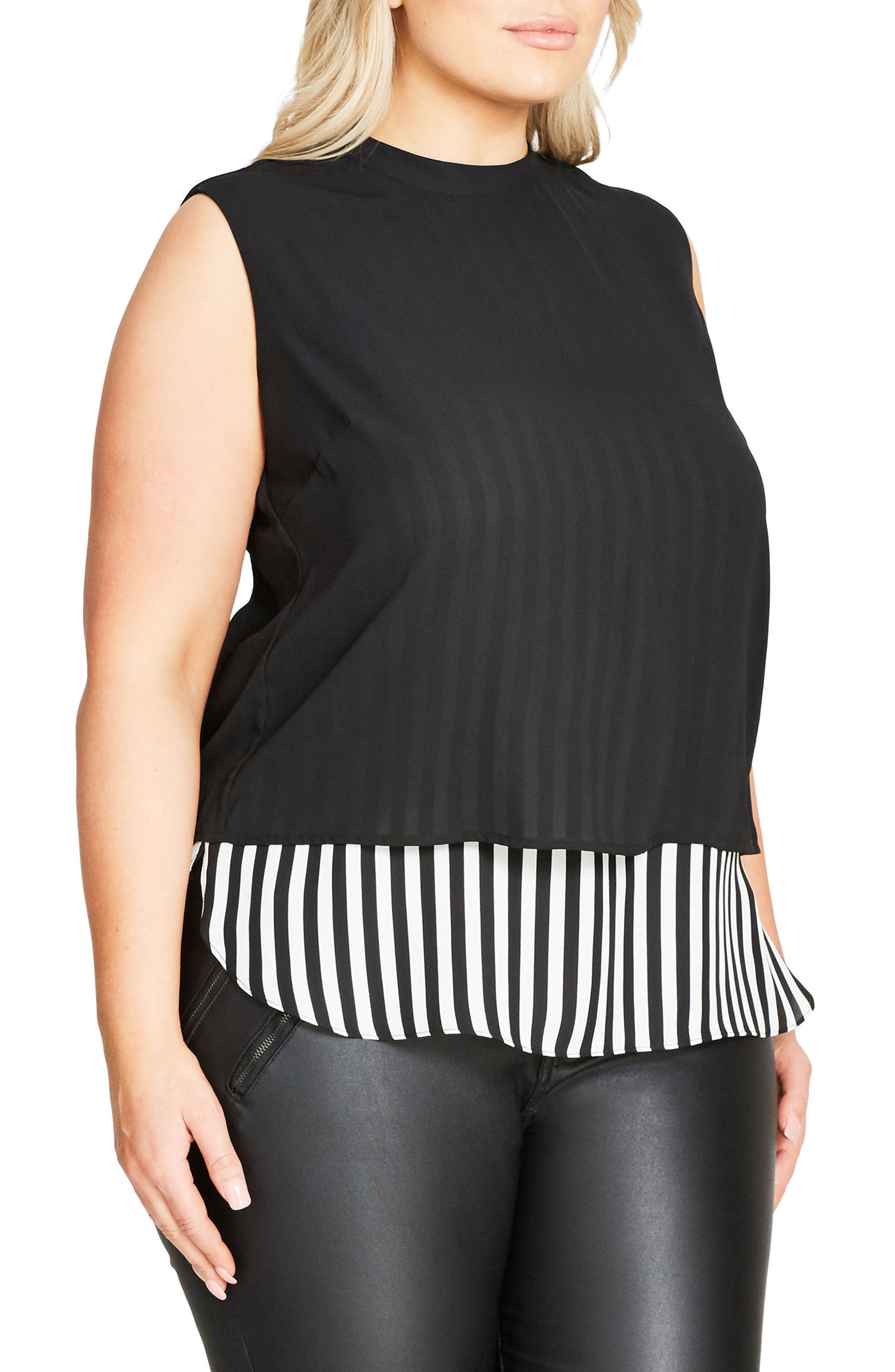 Peggy Lou Split Back Double Layer Top,                             Alternate thumbnail 3, color,                             001