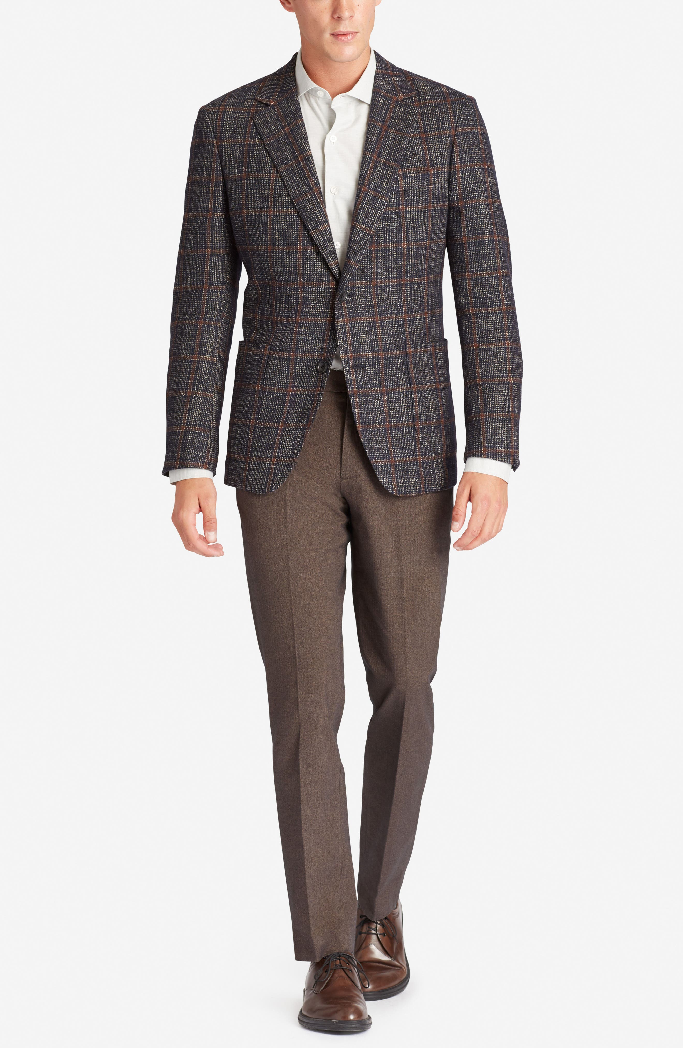 Slim Fit Wool Blend Blazer,                             Alternate thumbnail 4, color,                             400