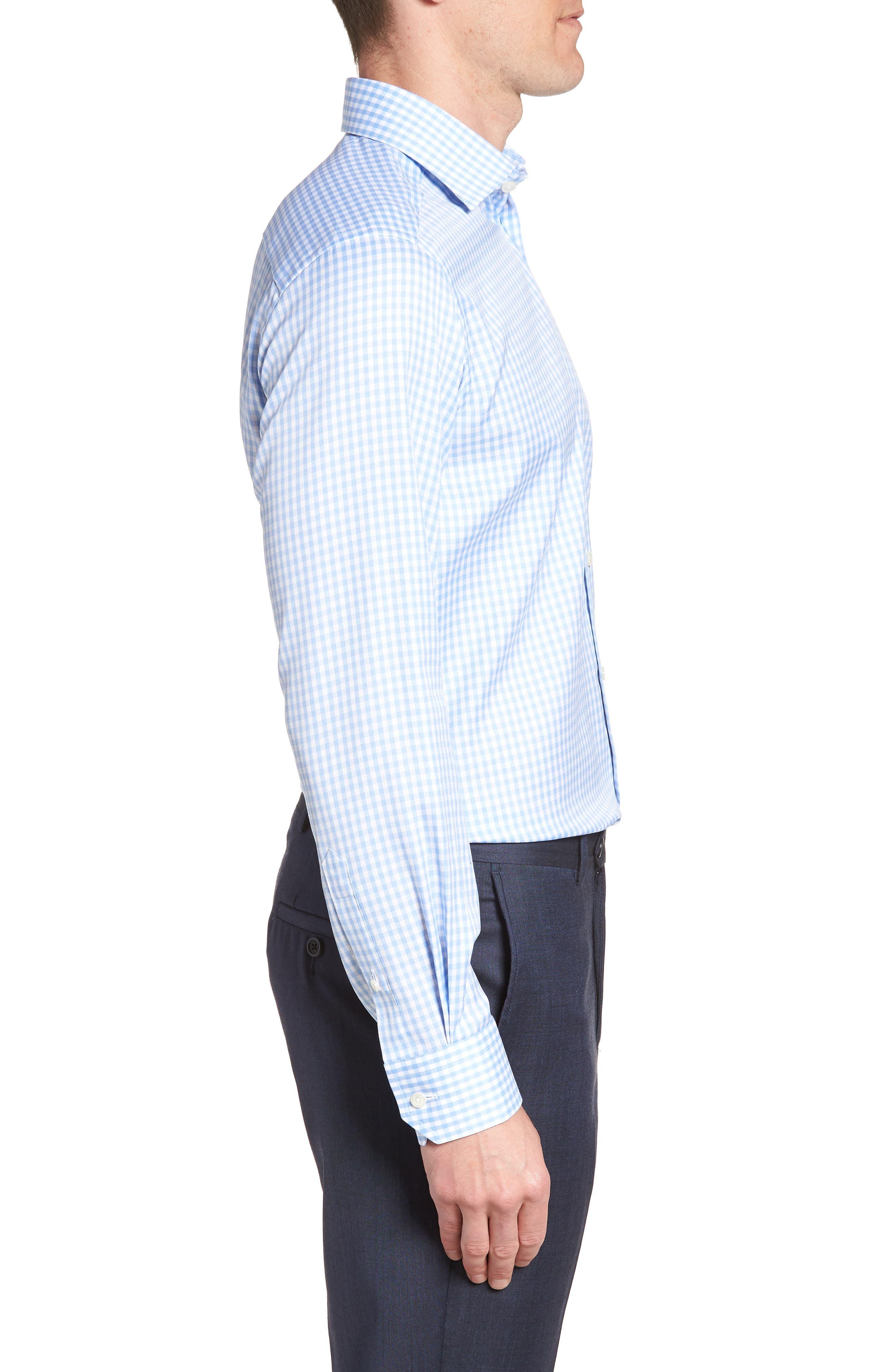 Contemporary Fit Check Dress Shirt,                             Alternate thumbnail 4, color,                             BLUE
