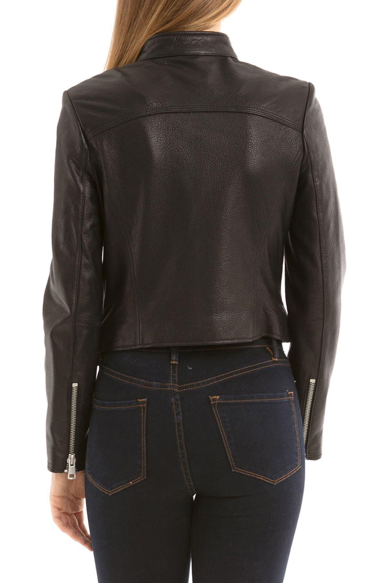 Bagatelle Textured Leather Jacket,                             Alternate thumbnail 2, color,                             001
