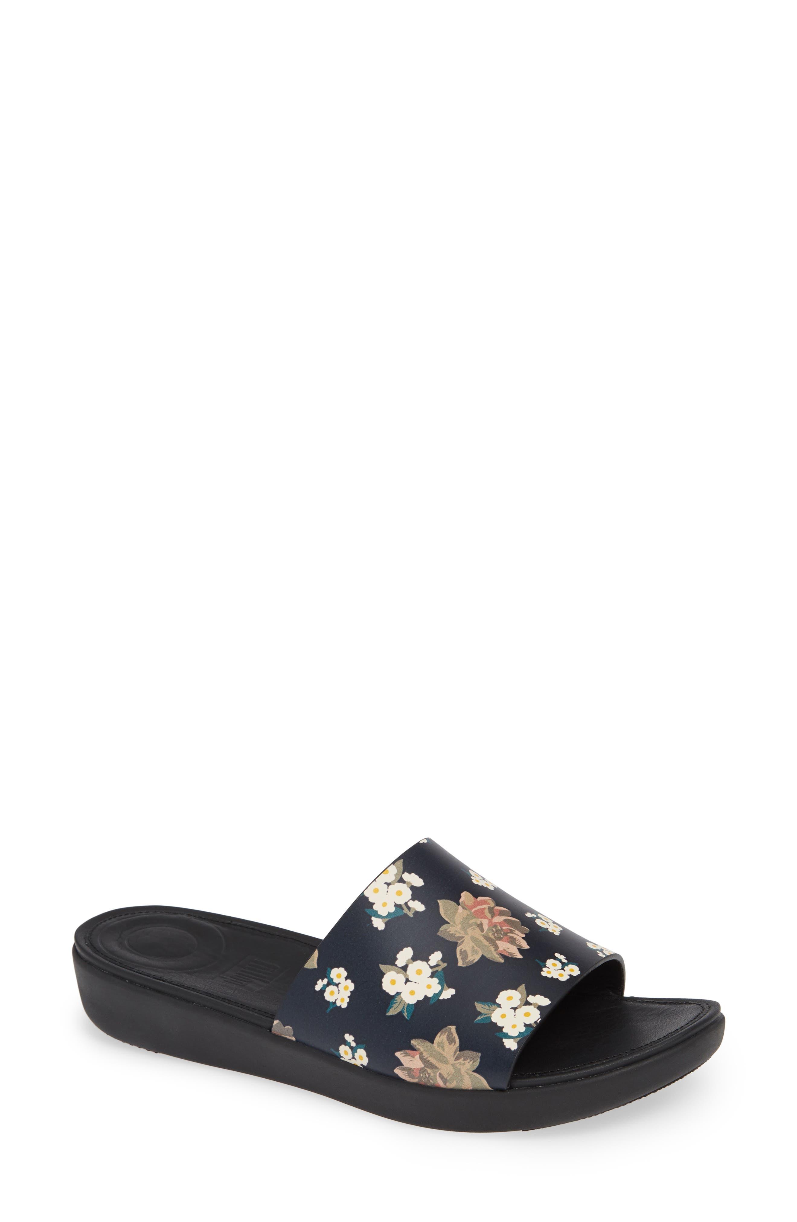 FITFLOP Sola Floral Slide Sandal, Main, color, 001