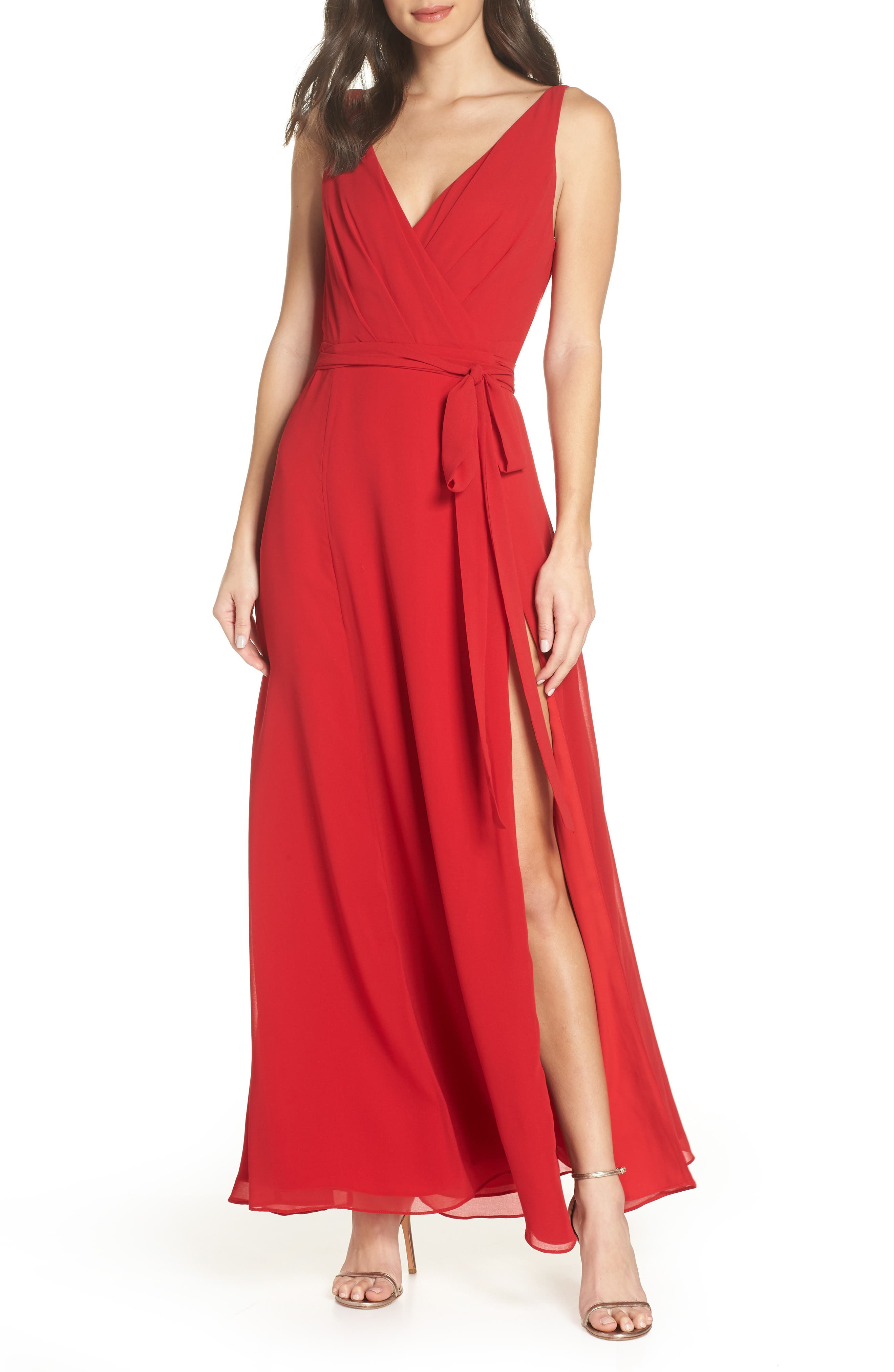 Fame And Partners The Dinah Georgette Wrap Gown, Red
