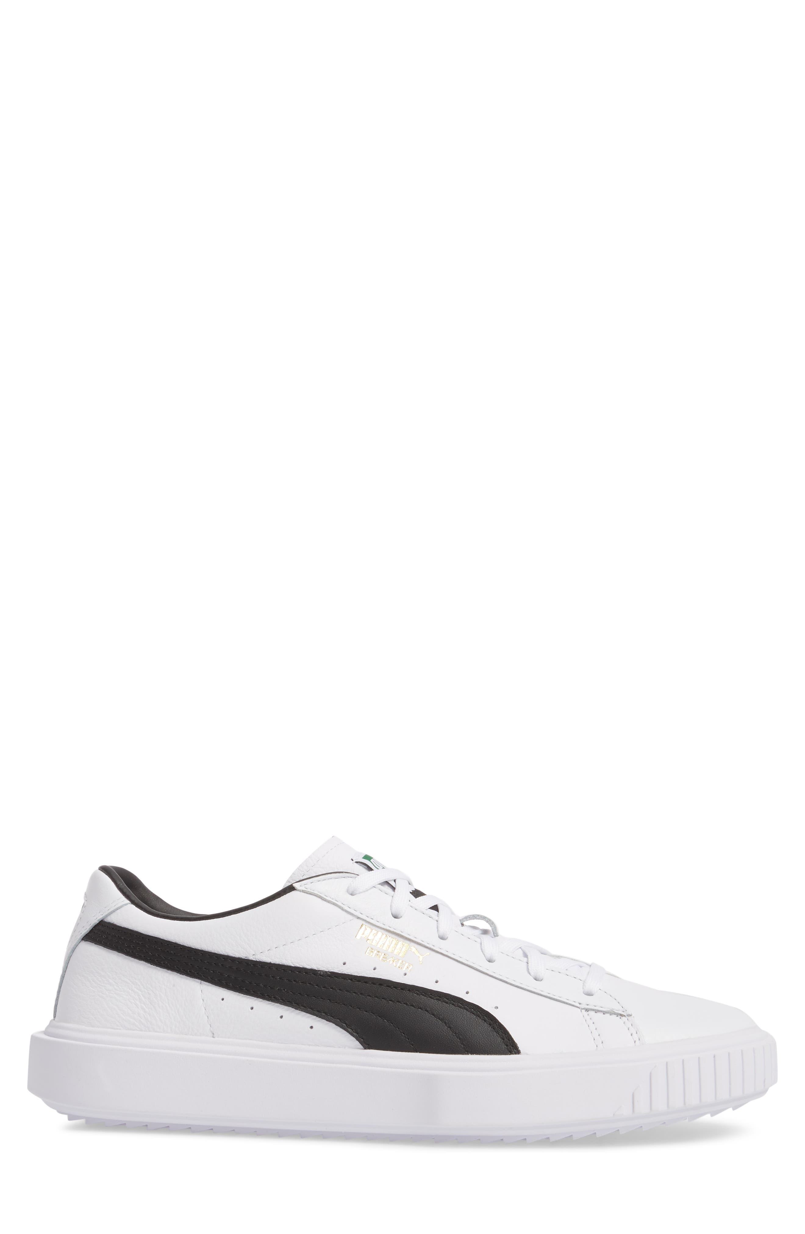 Breaker Low Top Sneaker,                             Alternate thumbnail 3, color,                             WHITE/ BLACK LEATHER