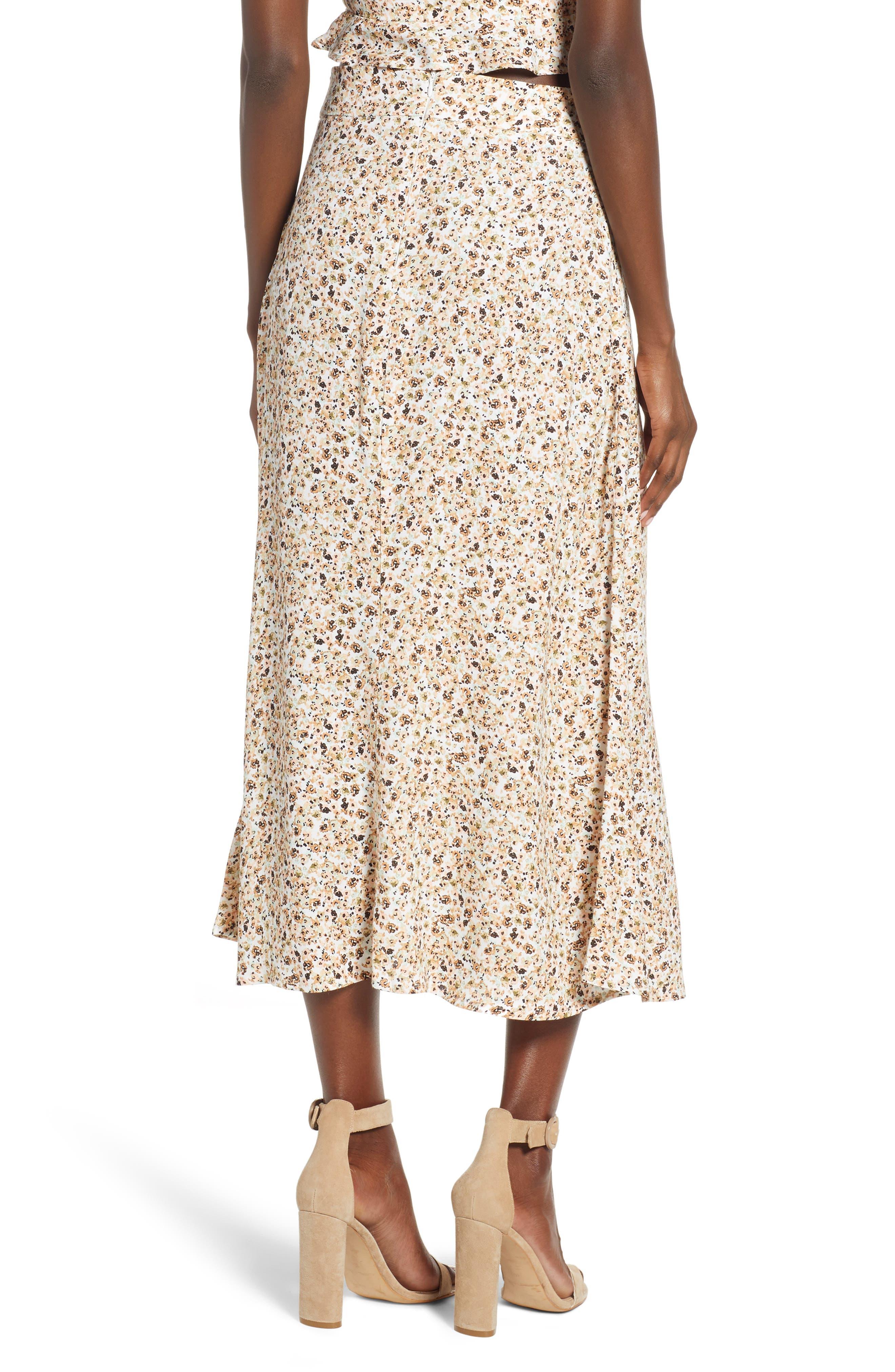 Mia Ruffle Midi Skirt,                             Alternate thumbnail 2, color,                             BEIGE DITSY