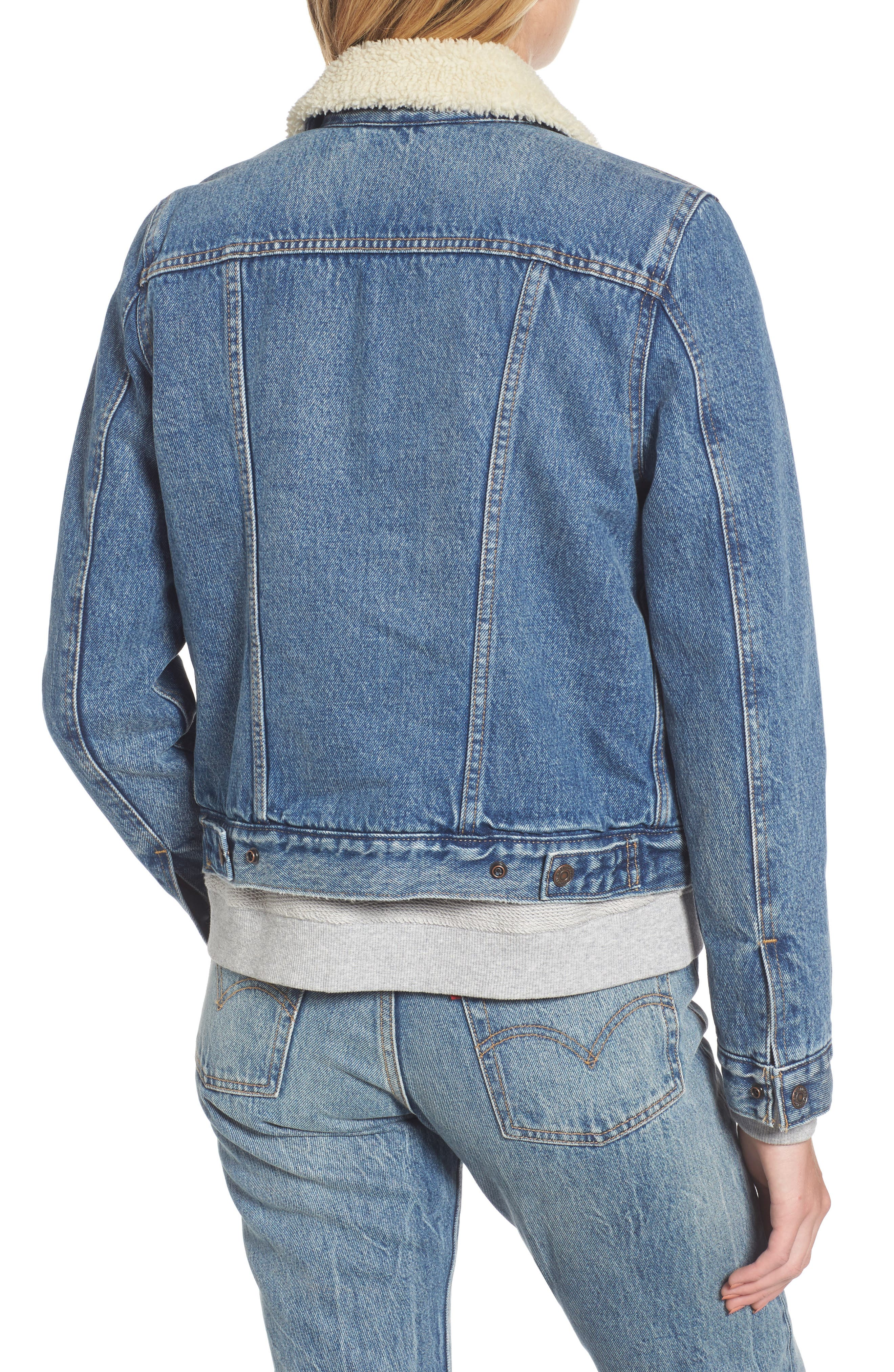Faux Shearling Lined Denim Trucker Jacket,                             Alternate thumbnail 2, color,                             450