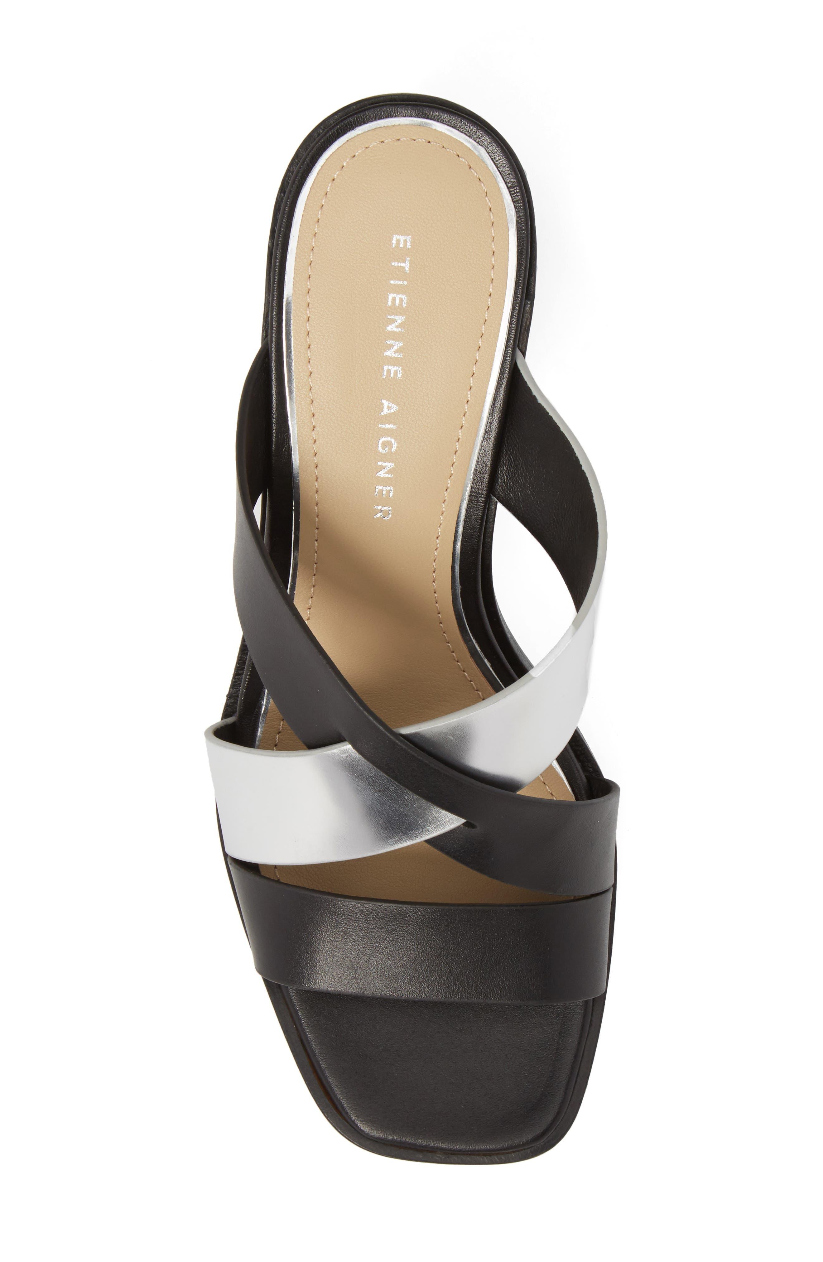 Negroni Cross Strap Mule Sandal,                             Alternate thumbnail 5, color,                             BLACK/ SILVER LEATHER