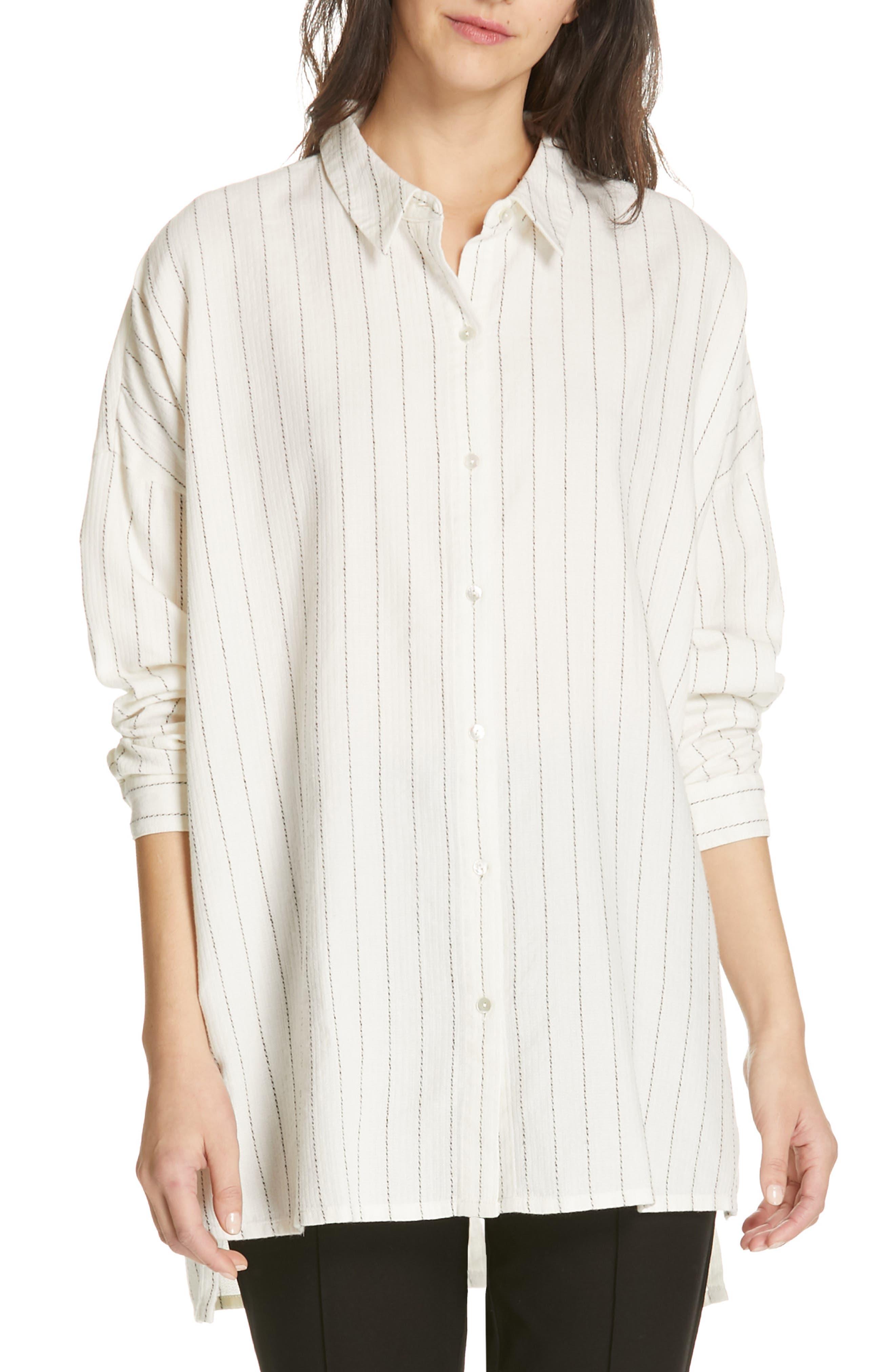 Boxy Stripe Shirt, Main, color, ECRU
