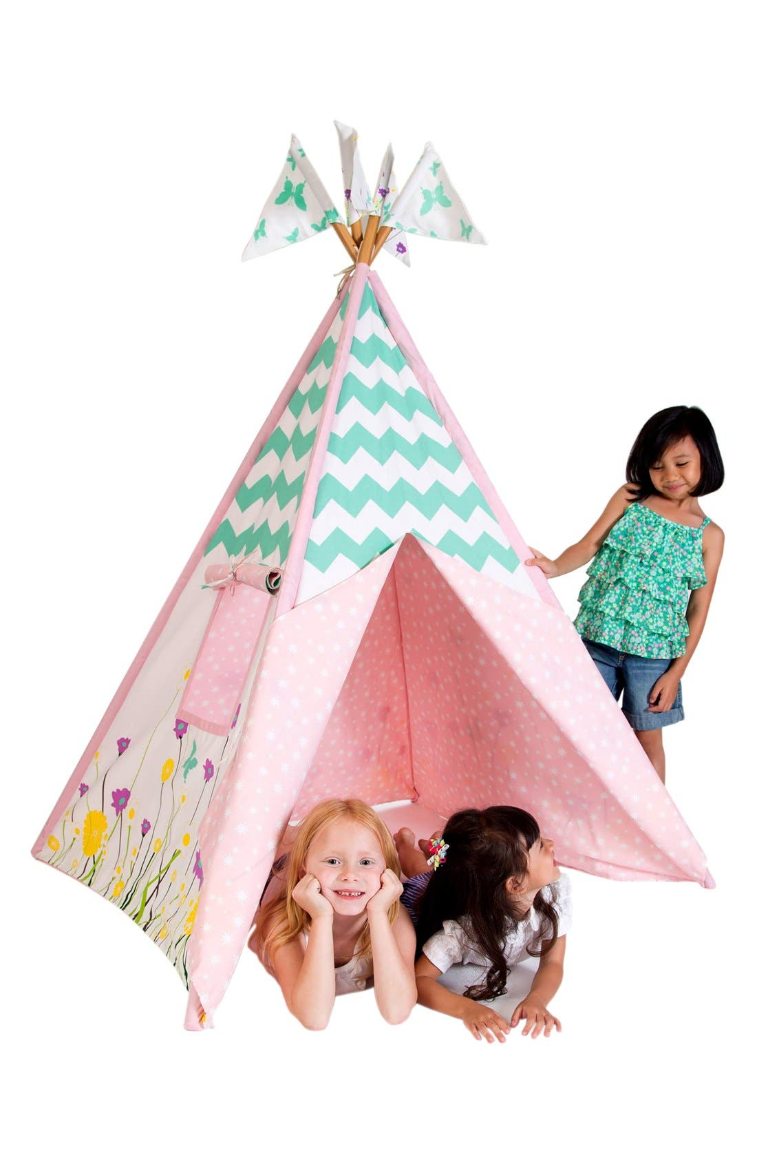 'Wildflowers' Cotton Canvas Teepee,                             Alternate thumbnail 4, color,                             BEIGE