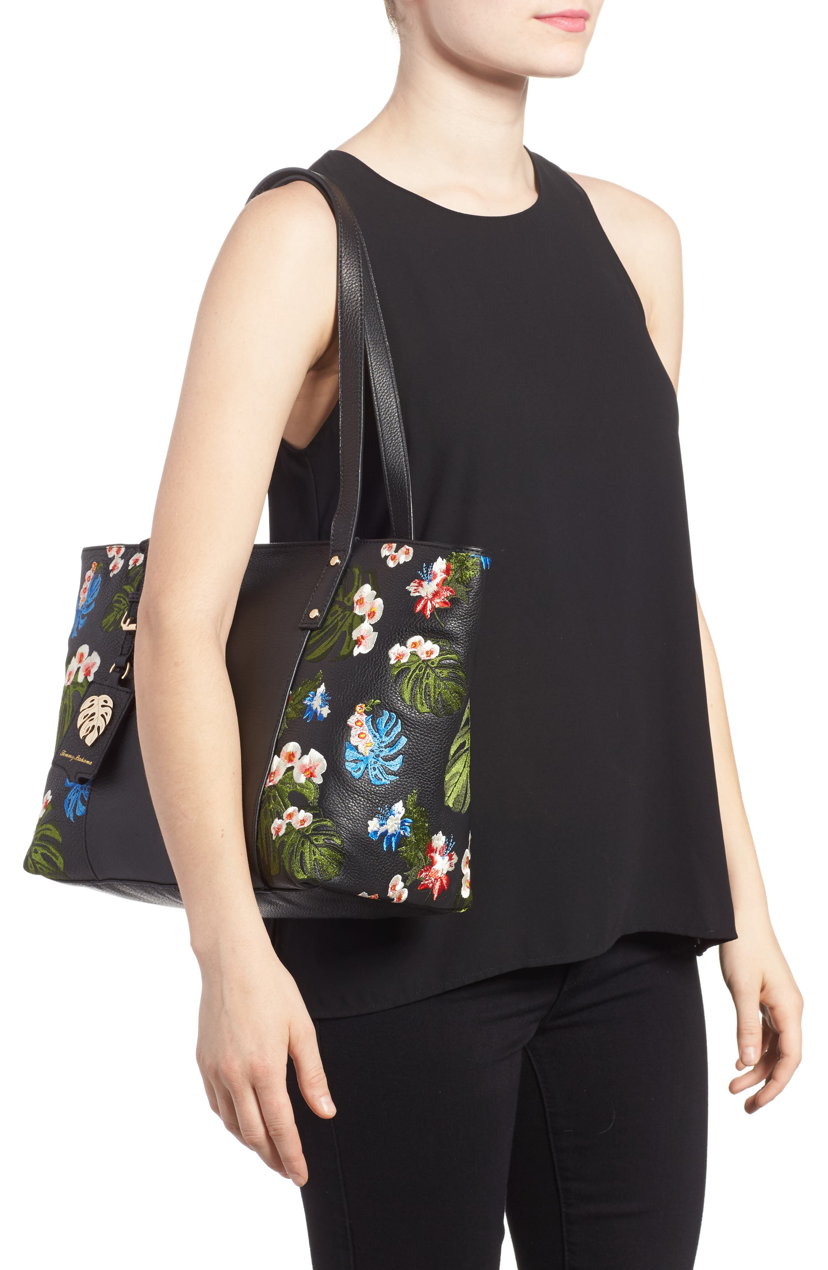Cozumel Floral Embroidered Leather Tote,                             Alternate thumbnail 2, color,                             001